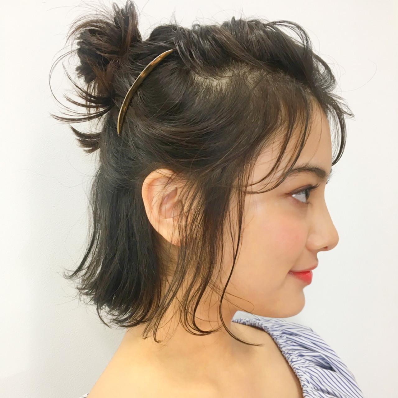 ショートボブのハーフアップお団子アレンジ 中島 潮里 / LOAVE