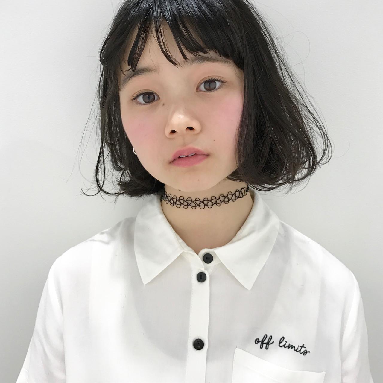 タンバルモリ フリンジバング 黒髪 ボブ ヘアスタイルや髪型の写真・画像