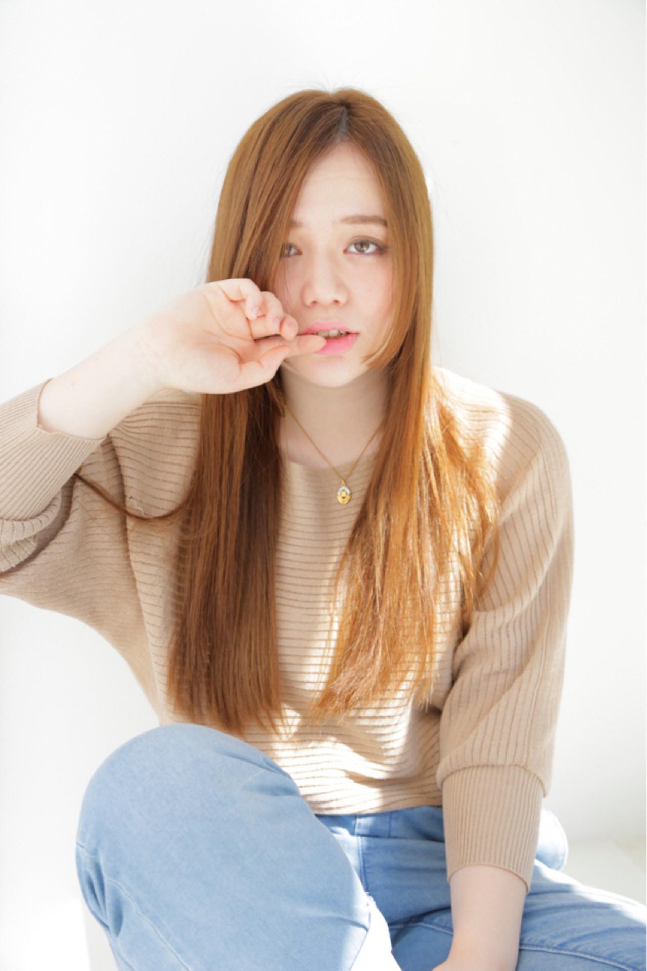 小顔効果あり♡前髪なしロングヘア Tomoaki Iwata