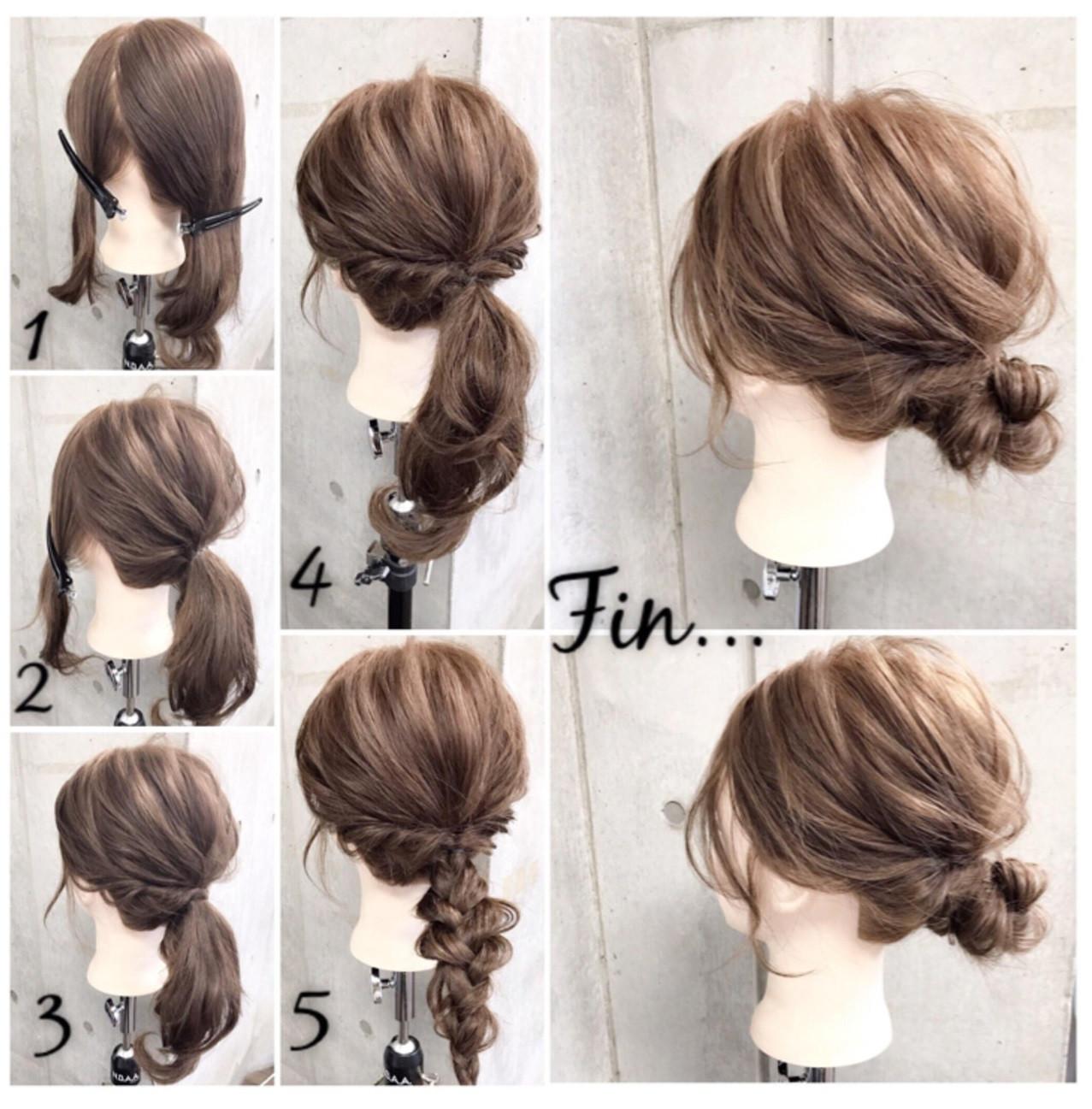 セミロング 簡単ヘアアレンジ 結婚式 ナチュラル ヘアスタイルや髪型の写真・画像