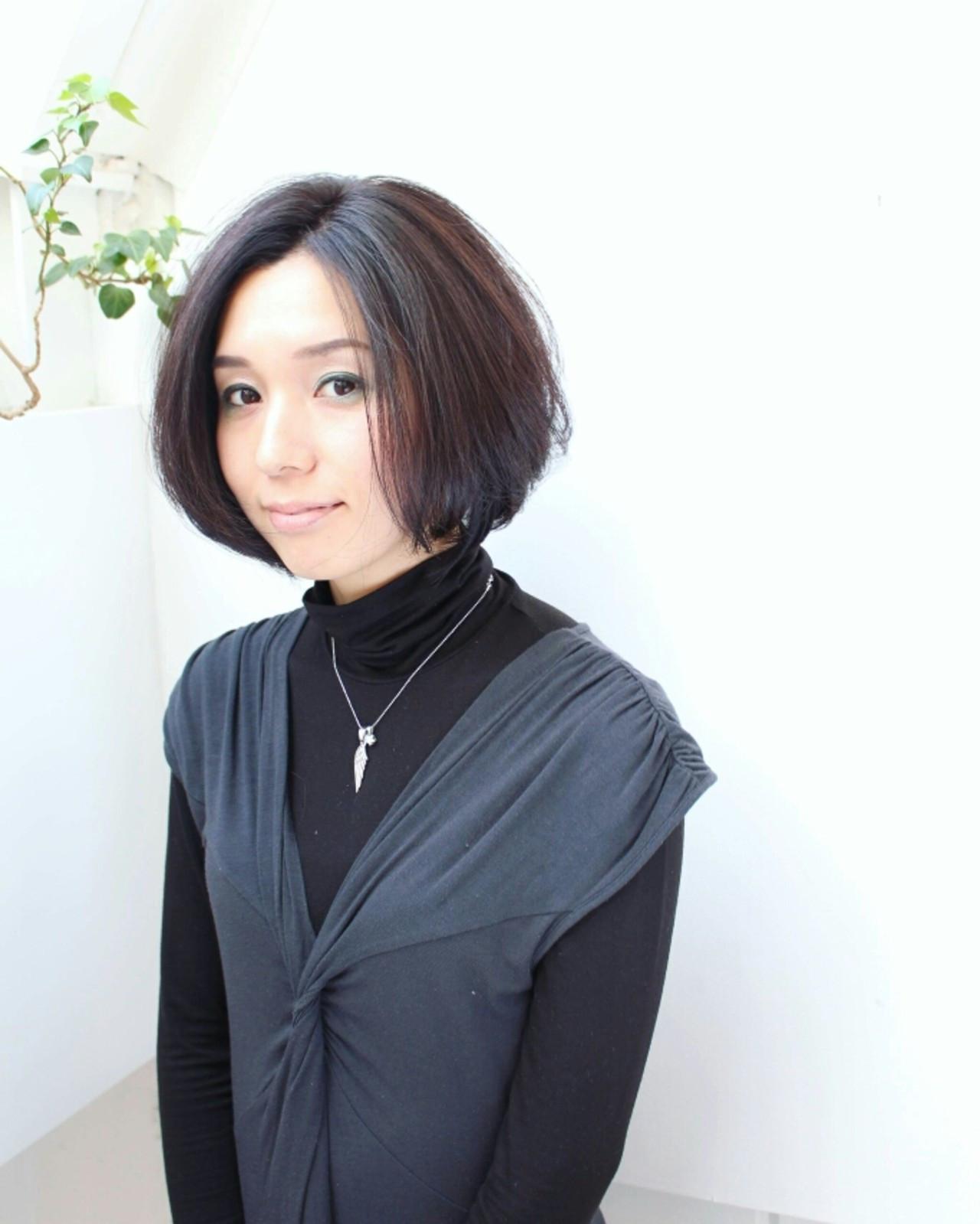 前下がりボブで大人クールな黒髪ボブ Seiichirou Ueda | atelier luretta