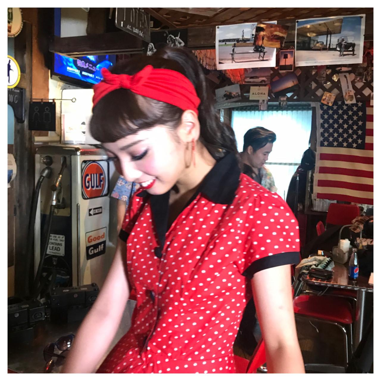 赤いバンダナとカールポニテでアメリカン♡ Obayashi Natsumi