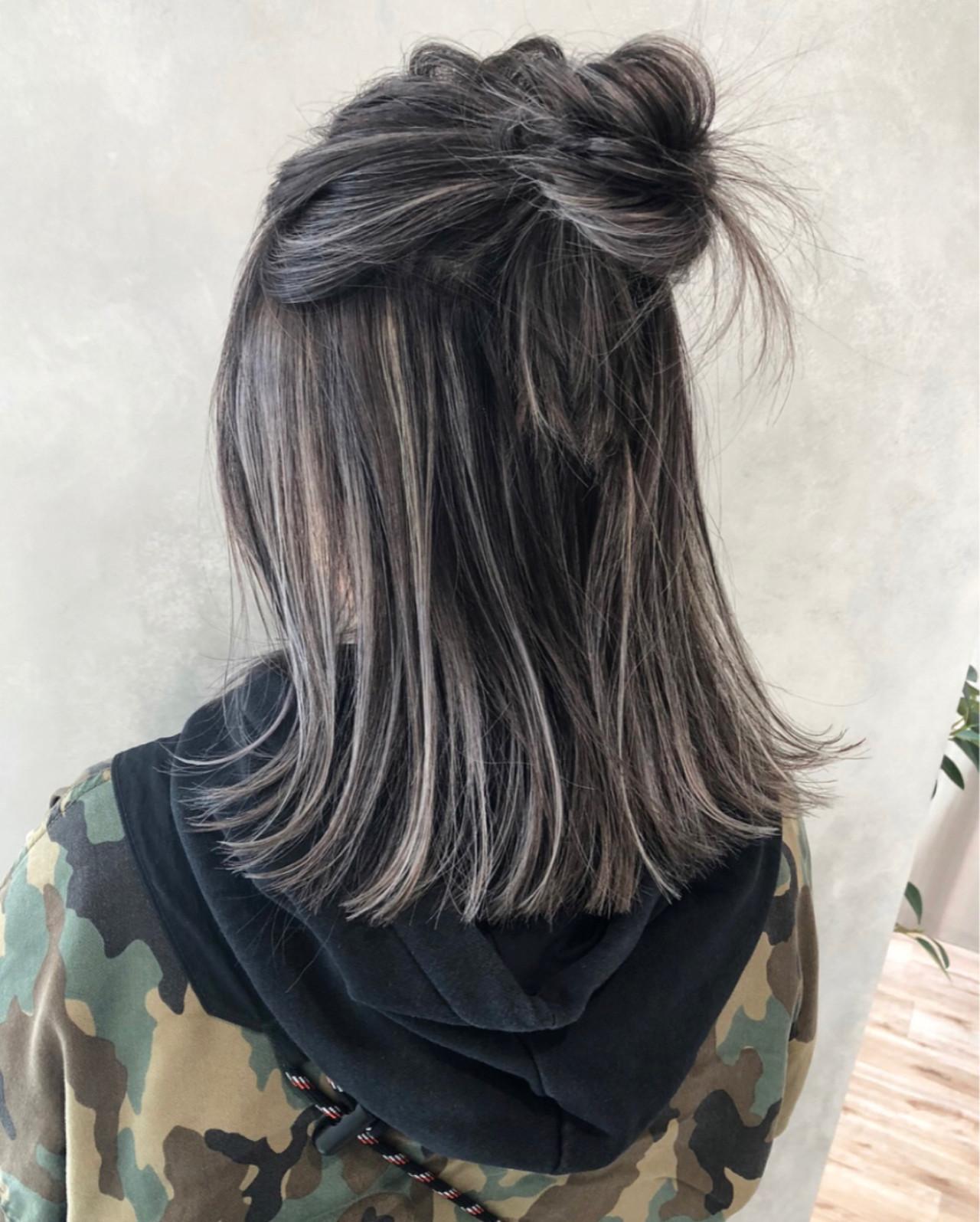 ハイライト グレージュ ストリート 外国人風カラー ヘアスタイルや髪型の写真・画像