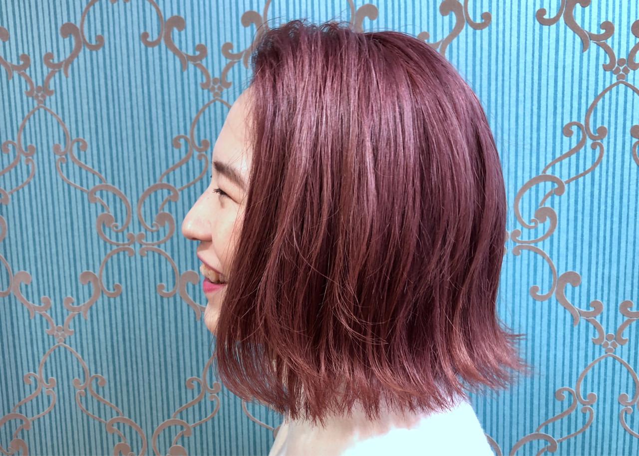 ピンクアッシュで透け感のあるピンクヘアカラー 葭本 祥子  Layla-lip