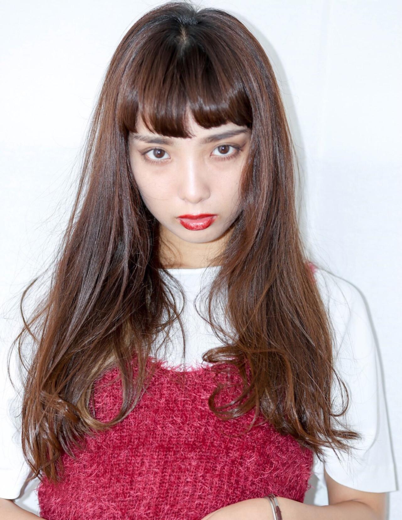 モード 小顔 アンニュイ ロング ヘアスタイルや髪型の写真・画像