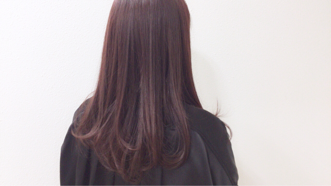 冬 ストレート ラベンダー 艶髪 ヘアスタイルや髪型の写真・画像