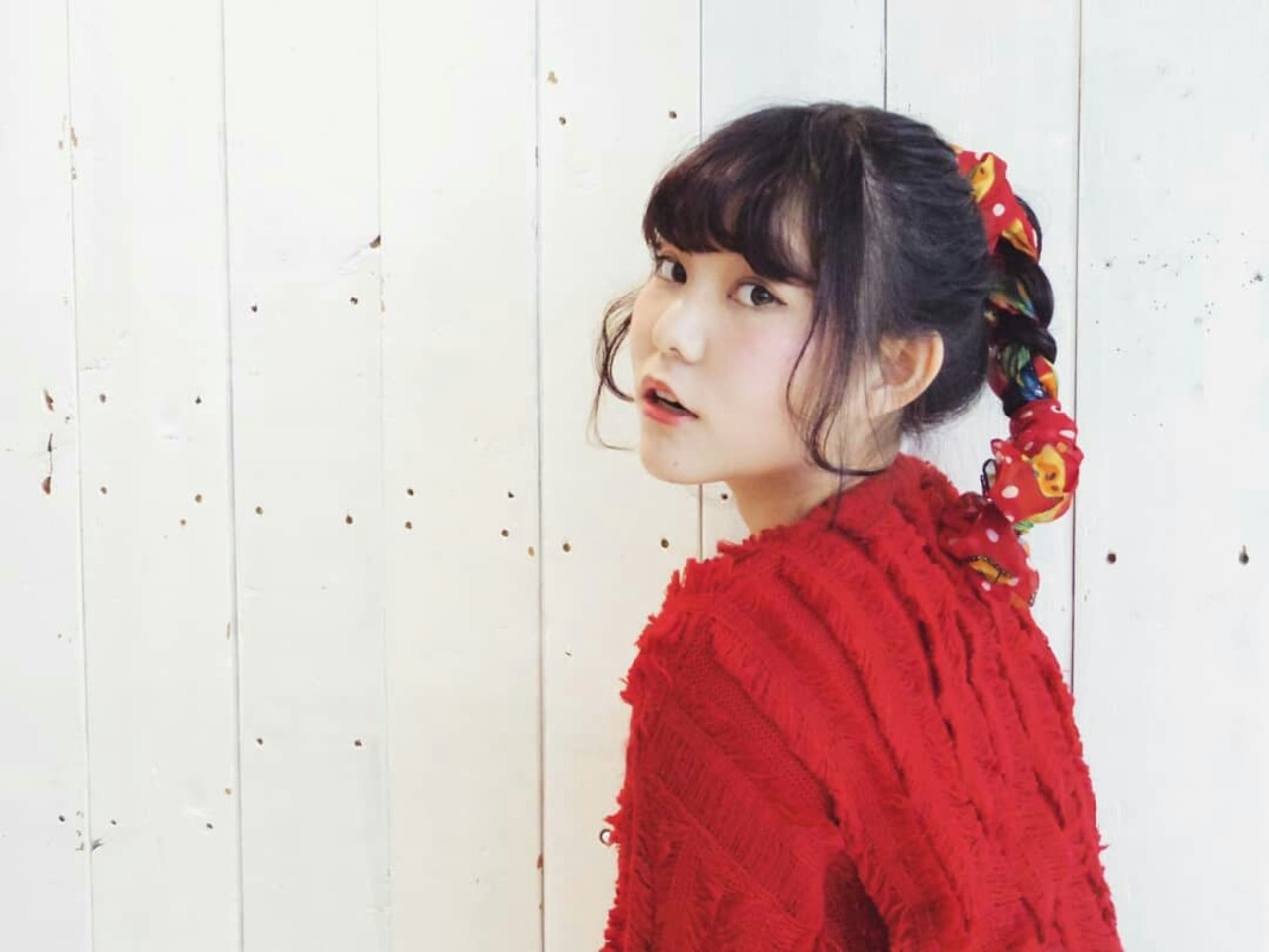 三つ編み ヘアアレンジ ポニーテール ヘアアクセ ヘアスタイルや髪型の写真・画像