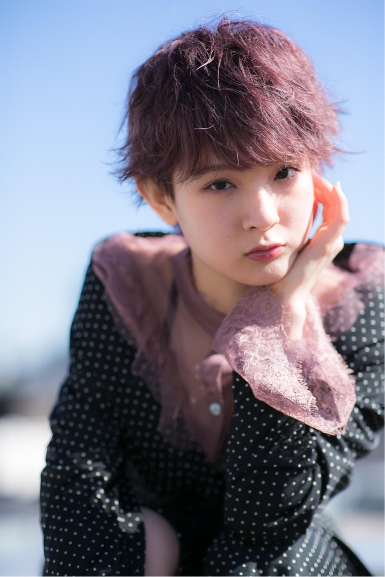 セクシー ガーリー ピンクアッシュ ショート ヘアスタイルや髪型の写真・画像
