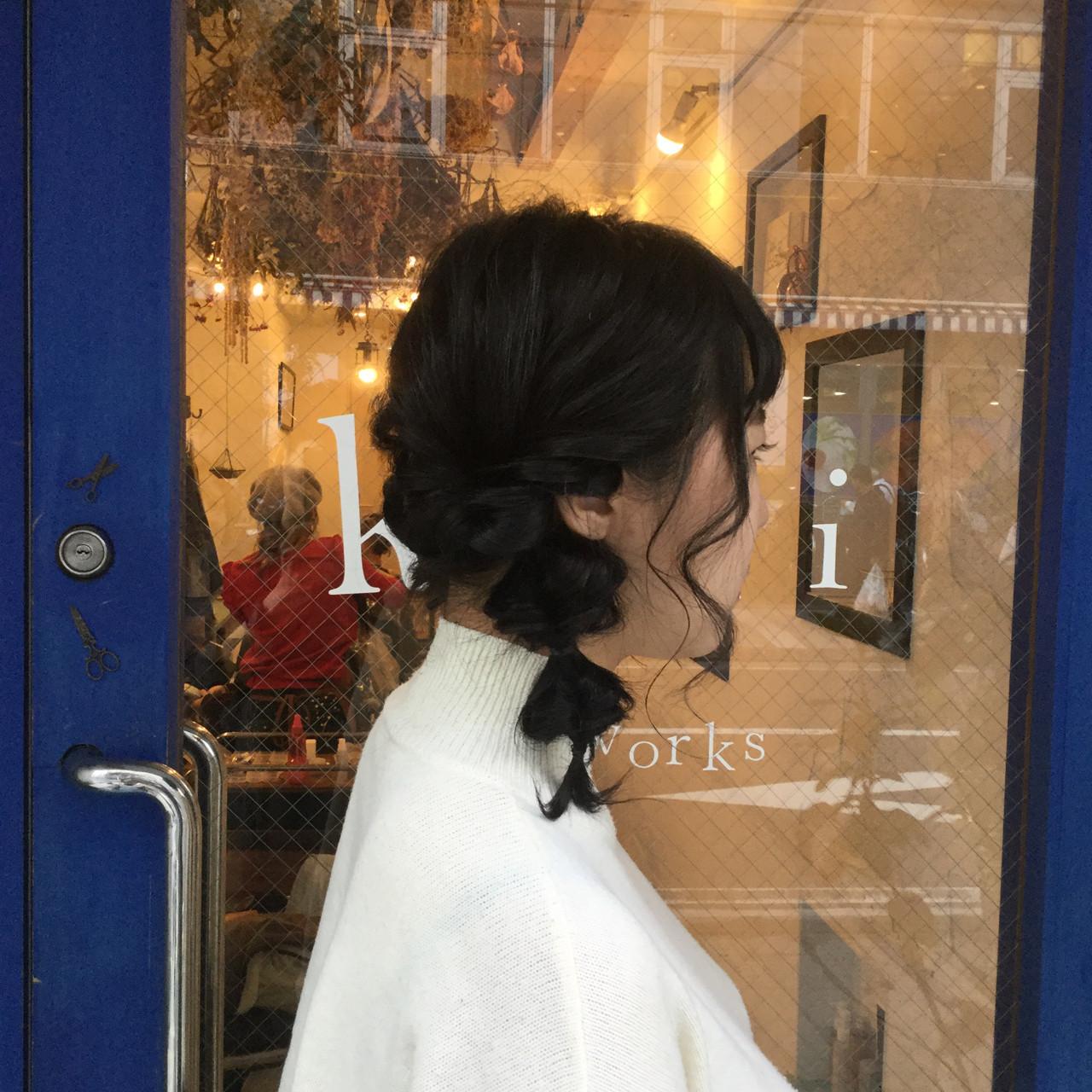 黒髪でつくるサイドくるりんぱでキュートなスタイルに 那須達敦