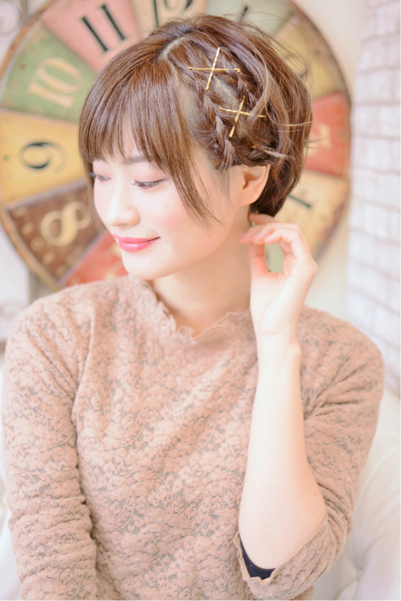 編み込み×ゴールドピンでおしゃれ&ガーリーに♡ Shiko Kajihara