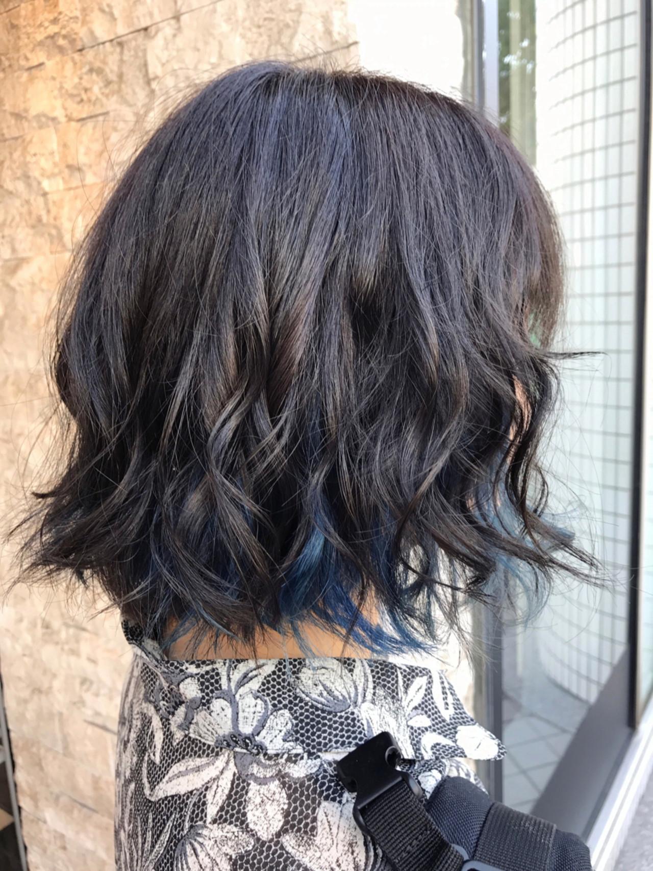 ウェーブ ガーリー ボブ アンニュイ ヘアスタイルや髪型の写真・画像