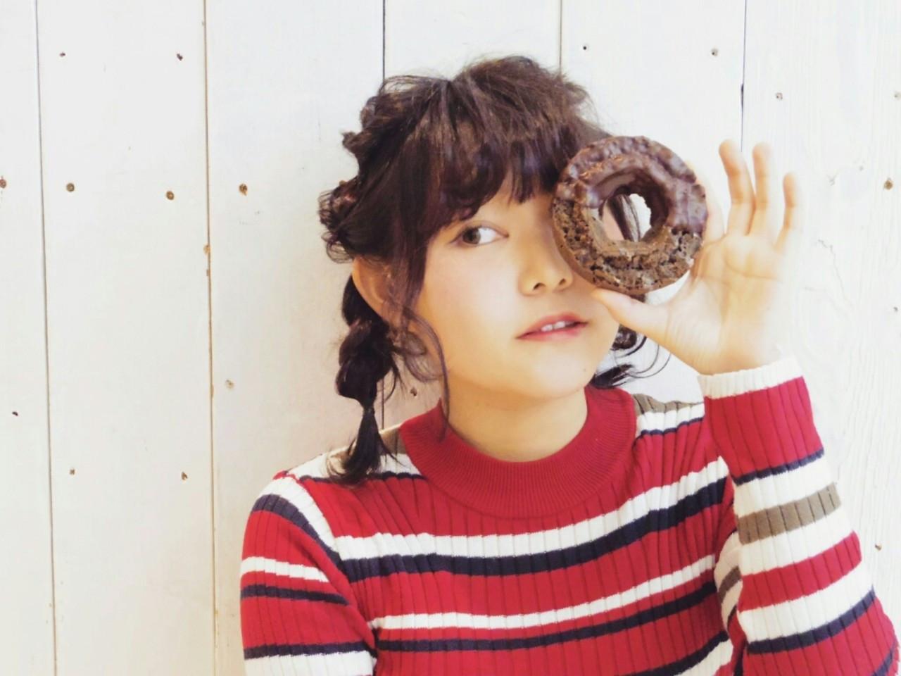 ハネても可愛い◎くるりんぱと三つ編みでキュートに♡ KUMA