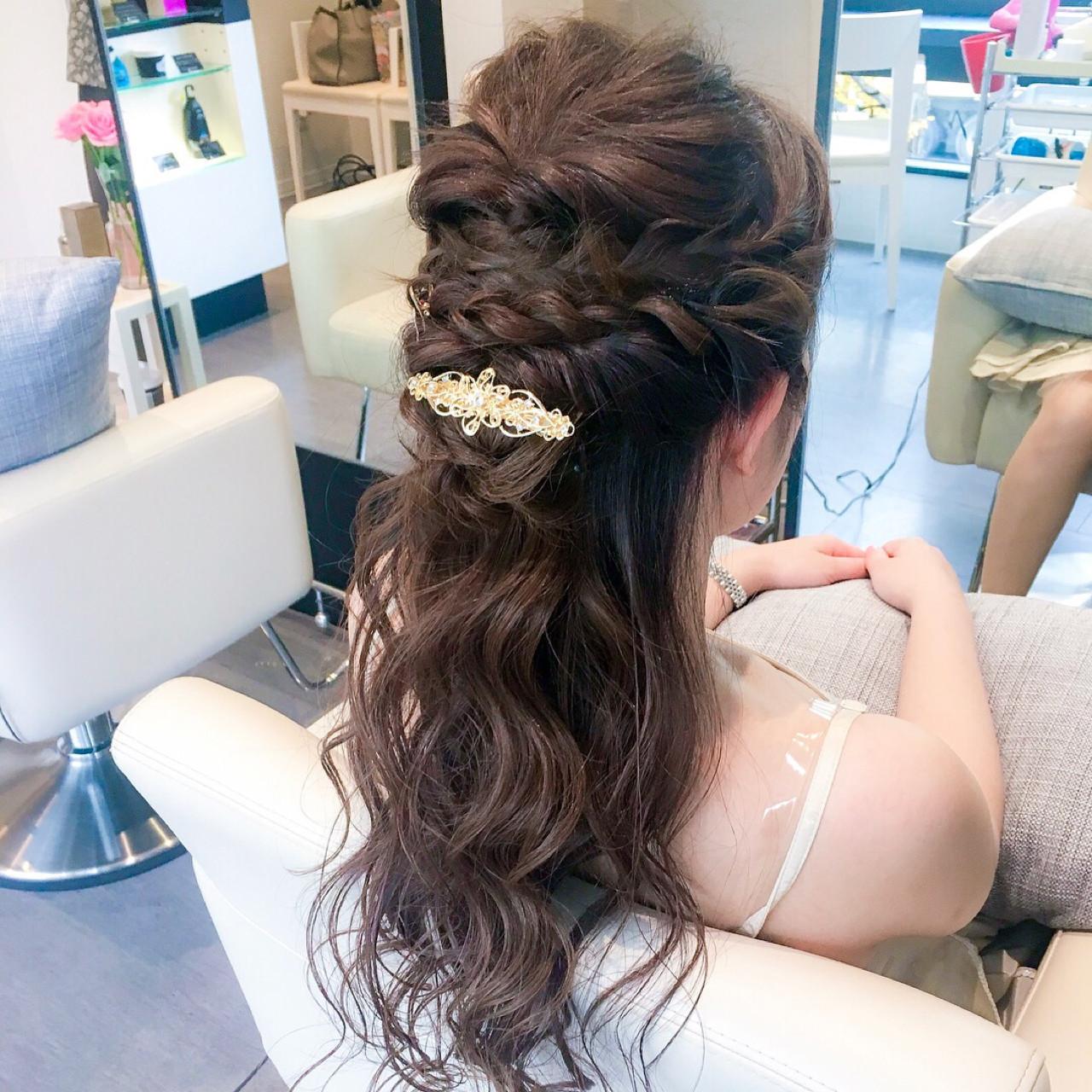 結婚式 ロング エレガント 二次会 ヘアスタイルや髪型の写真・画像