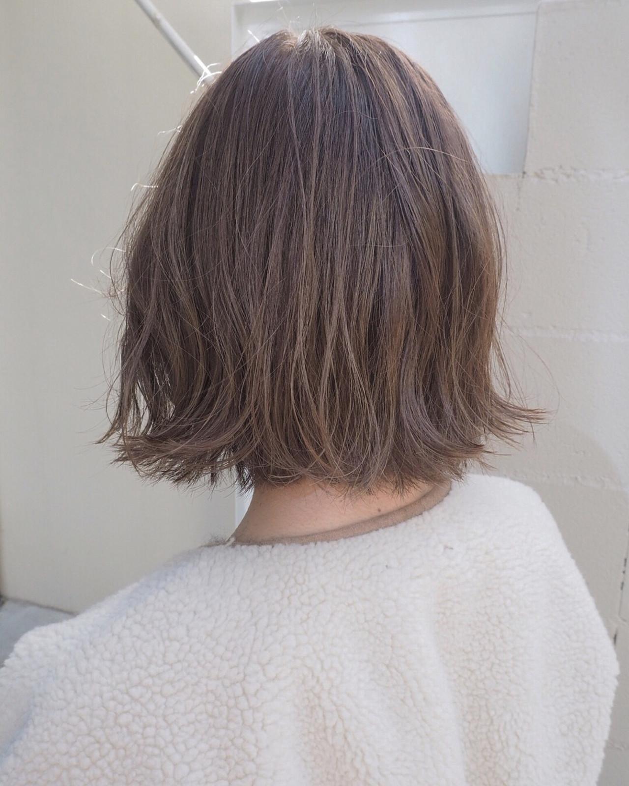 ボブ アンニュイ ナチュラル 3Dカラー ヘアスタイルや髪型の写真・画像