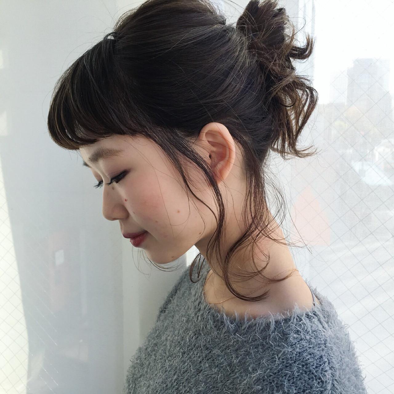 後れ毛が女っぽさを上げてくれる♡お団子アレンジ 武藤 茜
