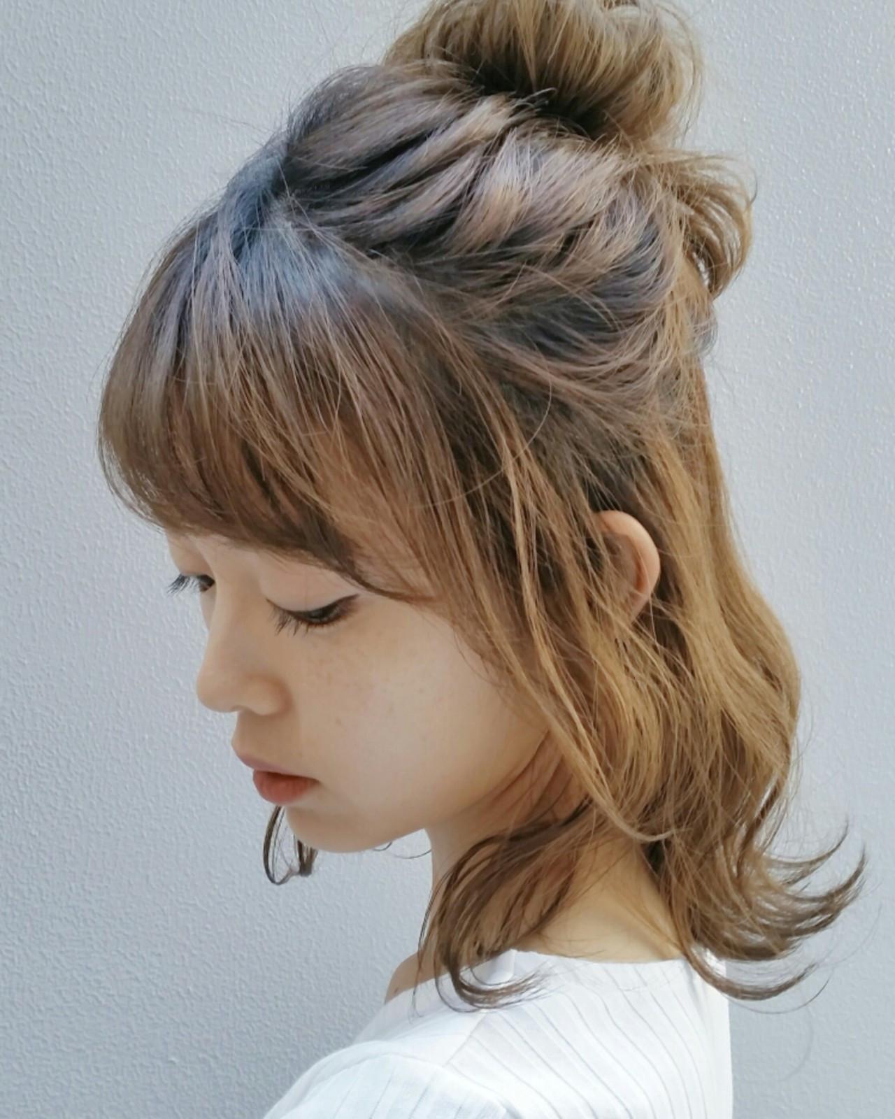 サイドの髪を残したハーフアップ hosoi
