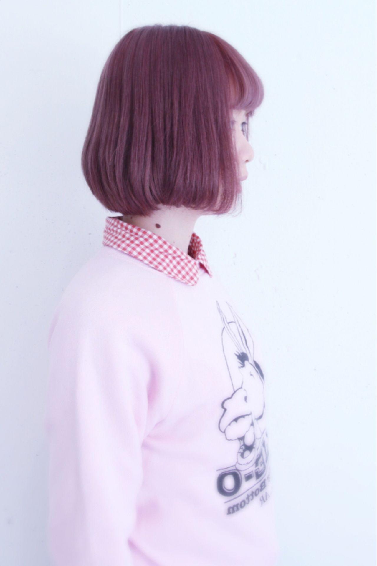 明るめピンクブラウンボブで個性を出したい TAAN HAIR_Ueda | TAAN HAIR