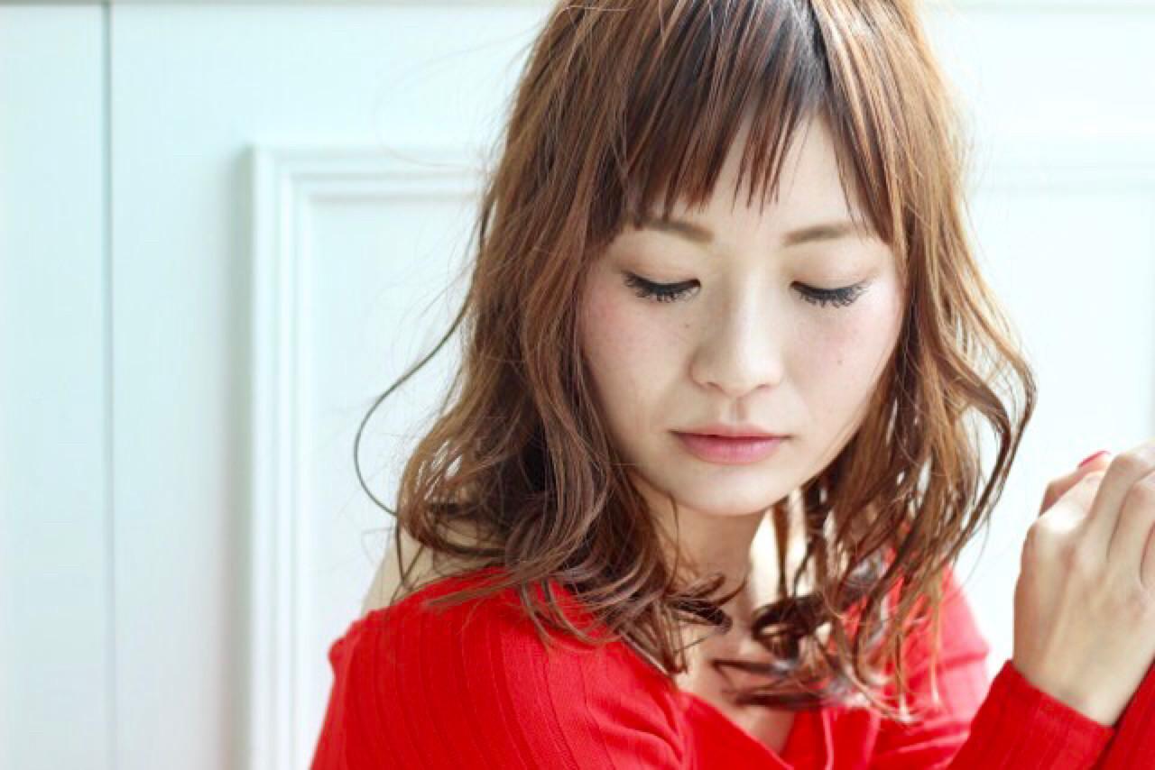 斜め前髪 セミロング 小顔 ニュアンス ヘアスタイルや髪型の写真・画像