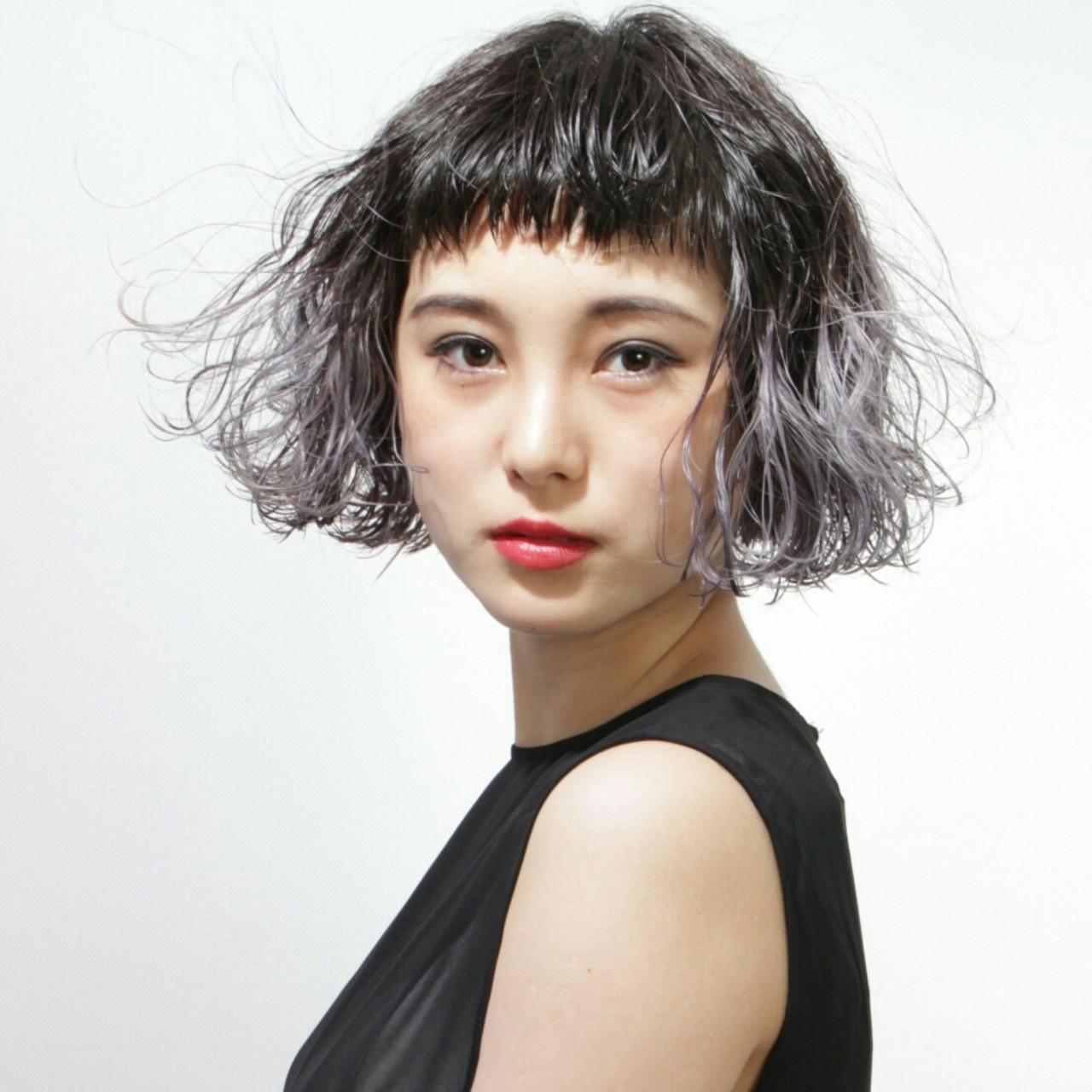 ワイドバング ボブ ストリート ウェットヘア ヘアスタイルや髪型の写真・画像