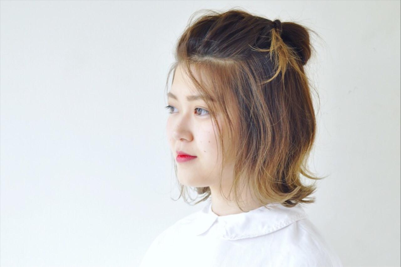 色の変化がしっかり見えるハーフアップ Asuka Kawamoto | macro