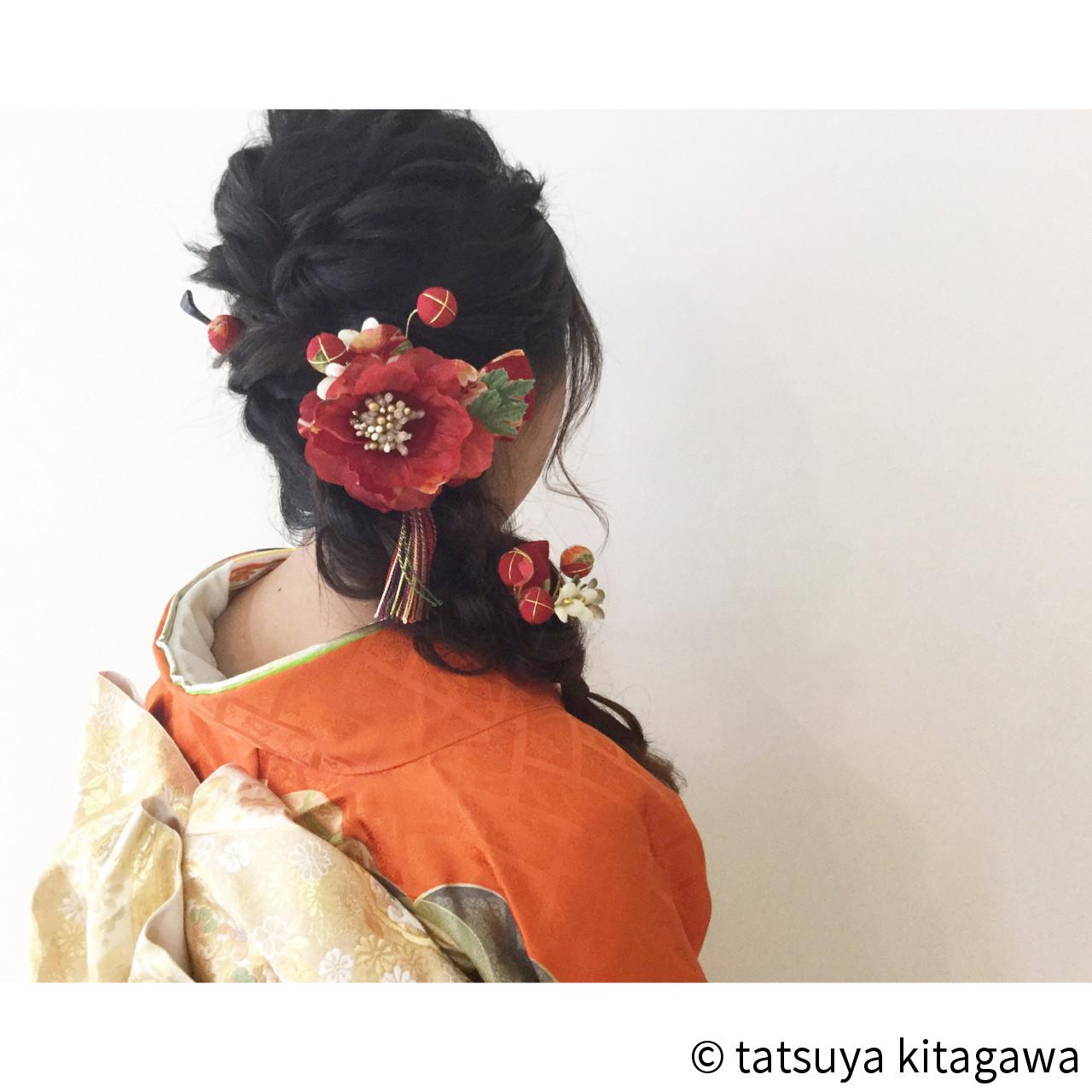編み込みでつくる和装サイドアップアレンジ tatsuya kitagawa