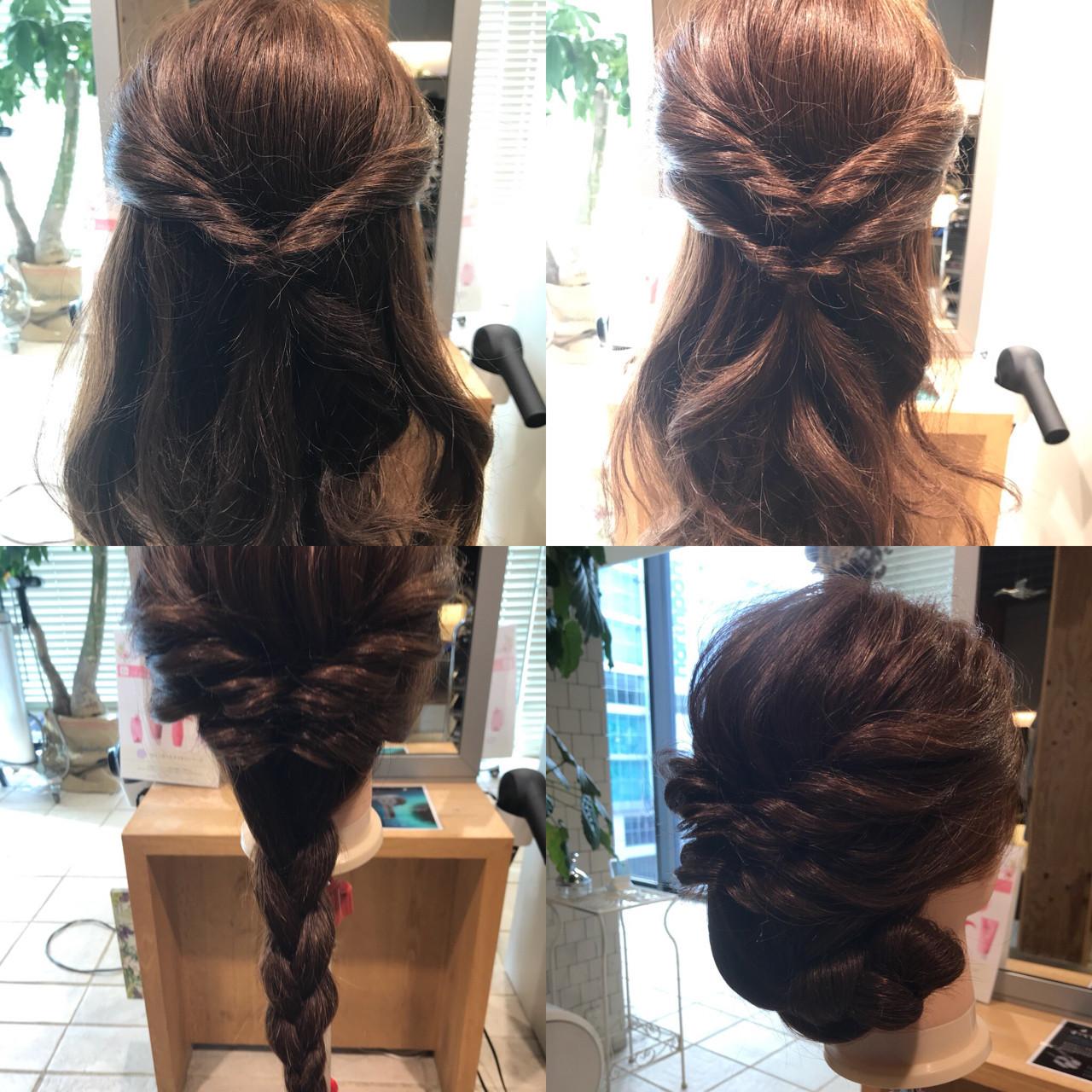 ロープ編みでくるりんぱからのまとめ髪 YASU | hair salon M.plus ヨツバコ店 (ヘアーサロン エムプラス)