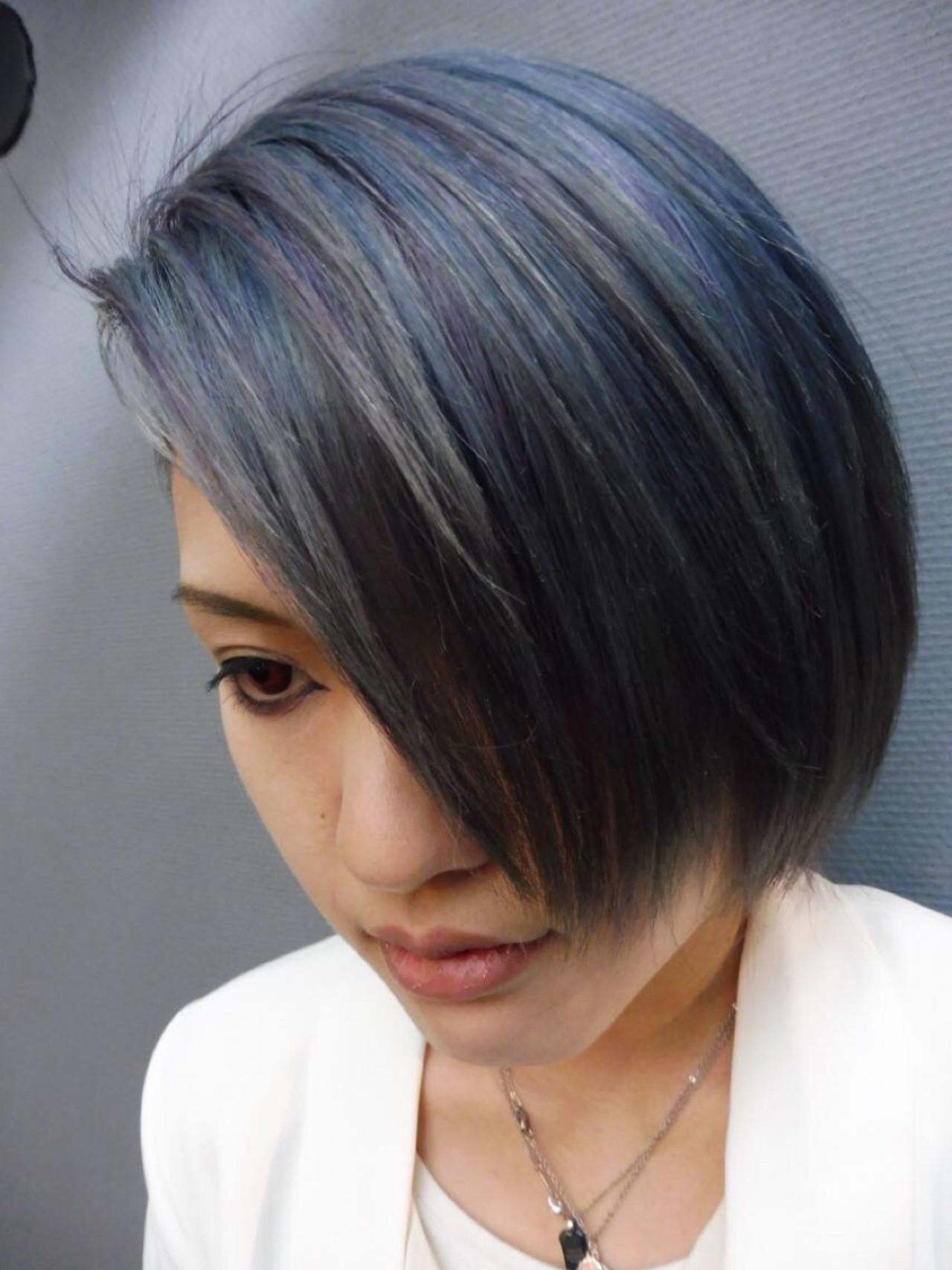 ストリート ブルージュ ボブ メッシュ ヘアスタイルや髪型の写真・画像