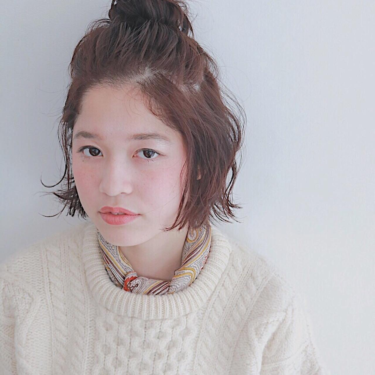 前髪無しボブのハーフアップお団子 青柳枝里香 | ecouter.