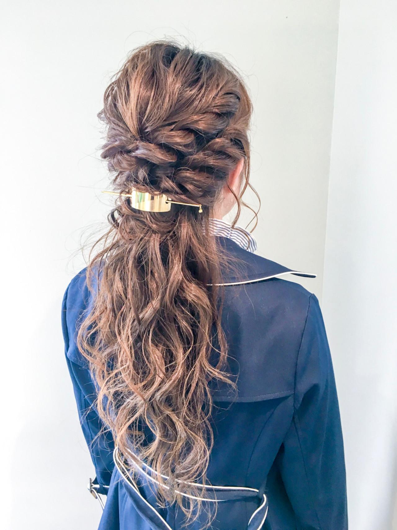 編みこみで華やかなハーフアップ 美容師 HIRO