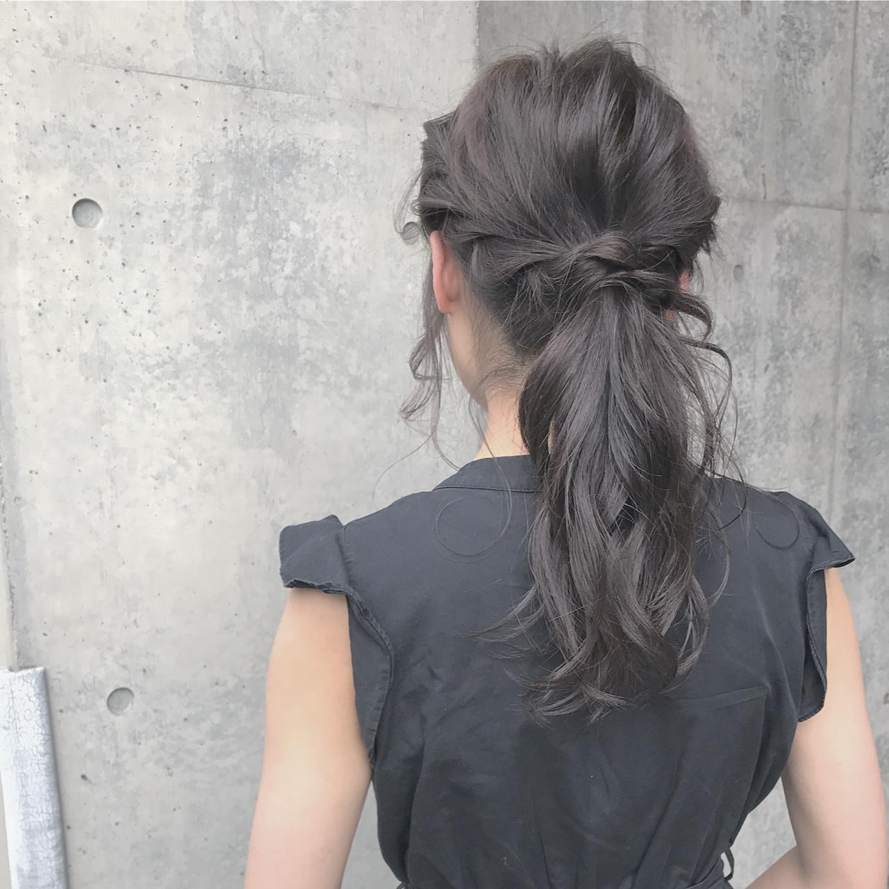 ナチュラル 簡単 女子会 ポニーテール ヘアスタイルや髪型の写真・画像