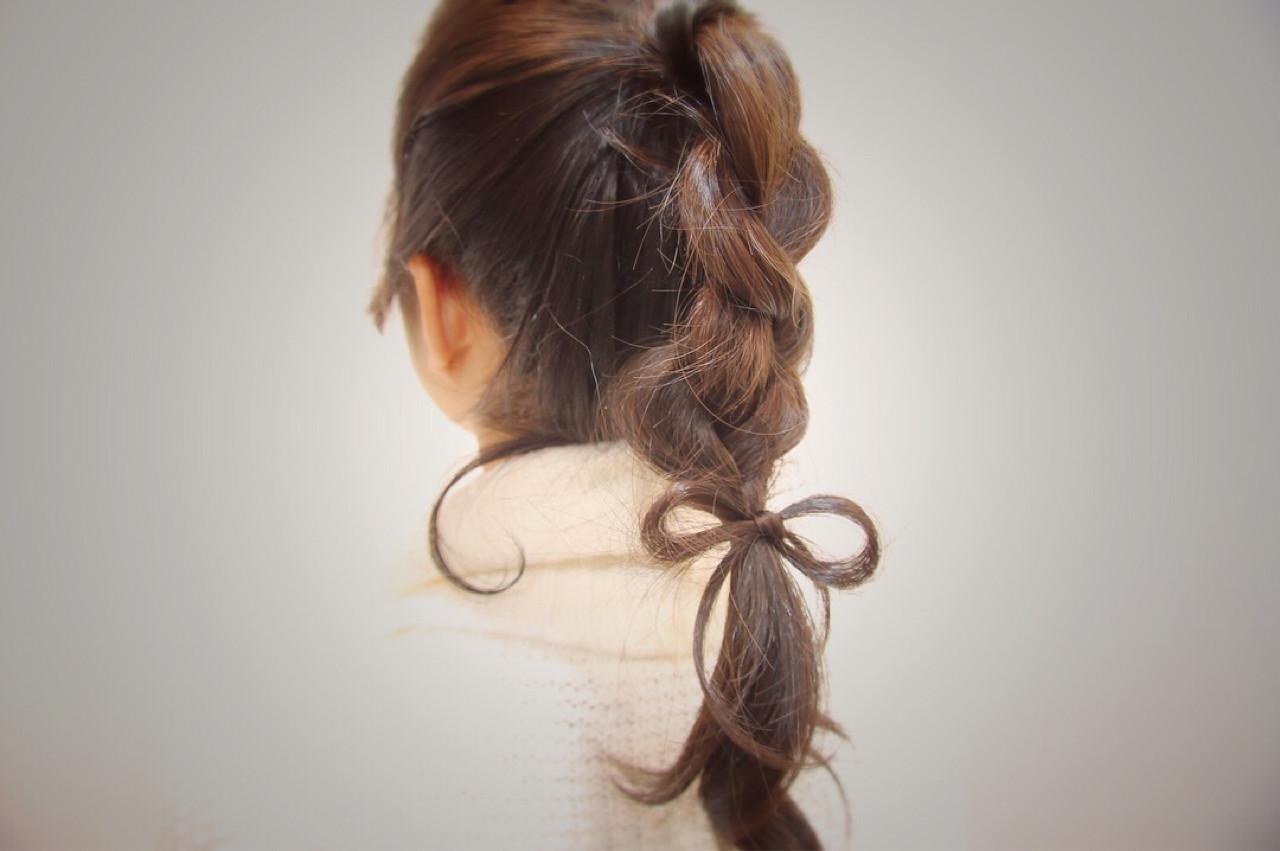 セミロング 三つ編み ポニーテール ヘアアレンジ ヘアスタイルや髪型の写真・画像