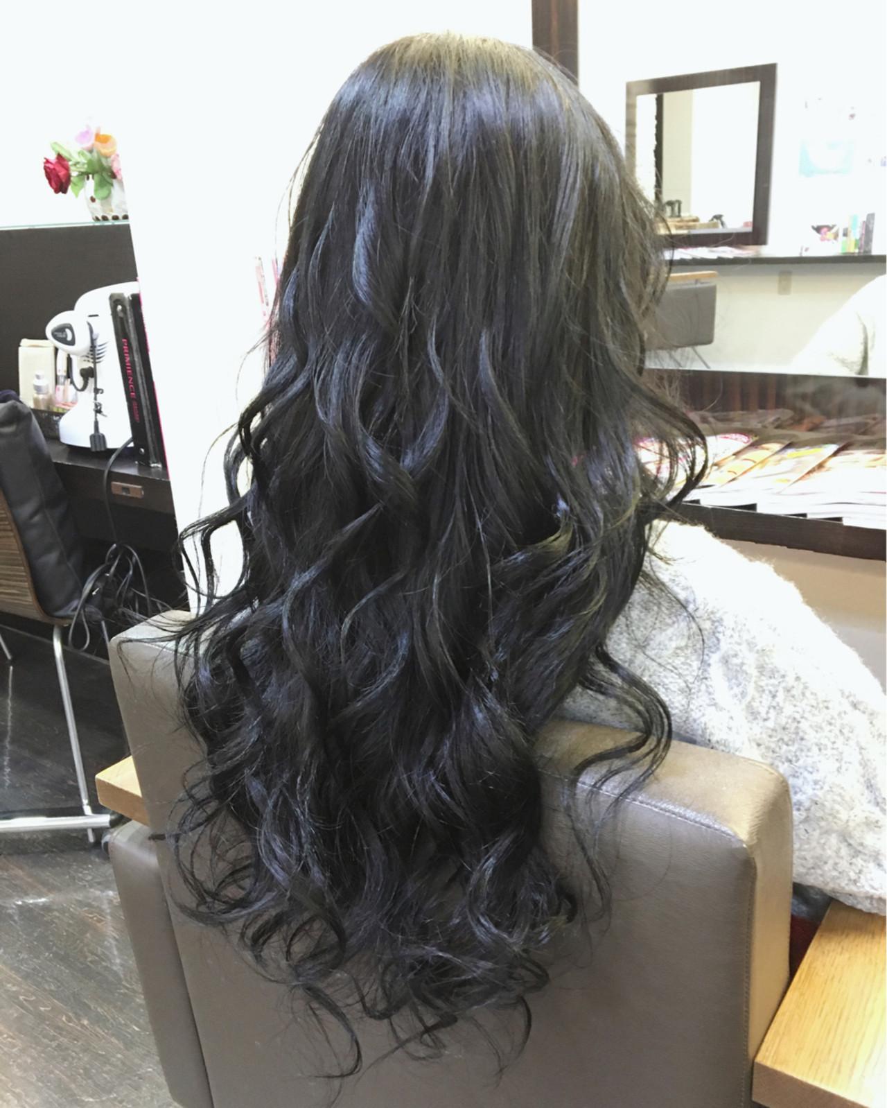 渋谷系 ロング ガーリー 暗髪 ヘアスタイルや髪型の写真・画像