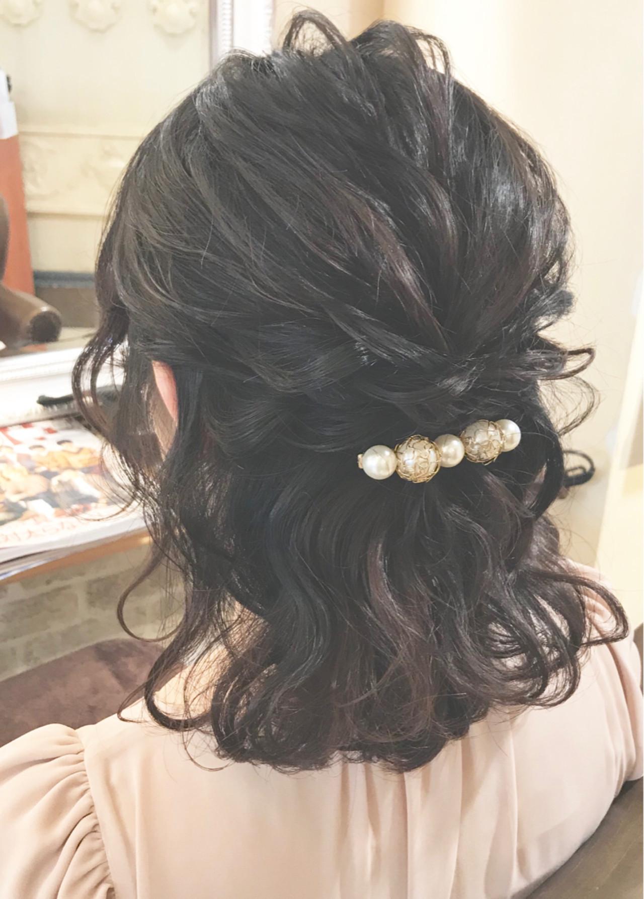 ヘアアレンジ 結婚式 ガーリー 黒髪 ヘアスタイルや髪型の写真・画像
