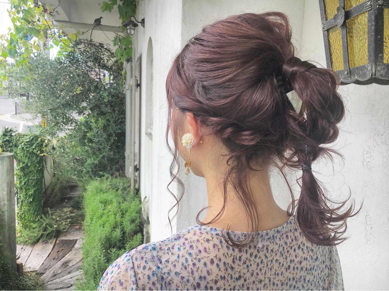 ヘアアレンジ ガーリー ピンクアッシュ 簡単ヘアアレンジ ヘアスタイルや髪型の写真・画像