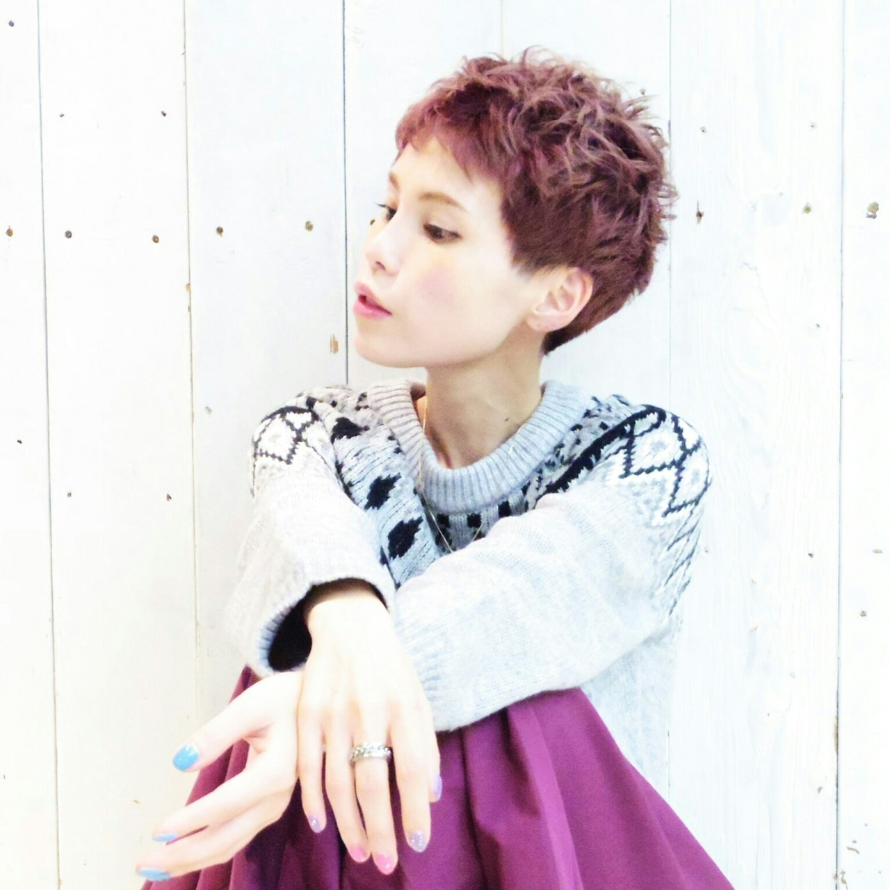 ベリーショート ピンクアッシュ ショート レッド ヘアスタイルや髪型の写真・画像
