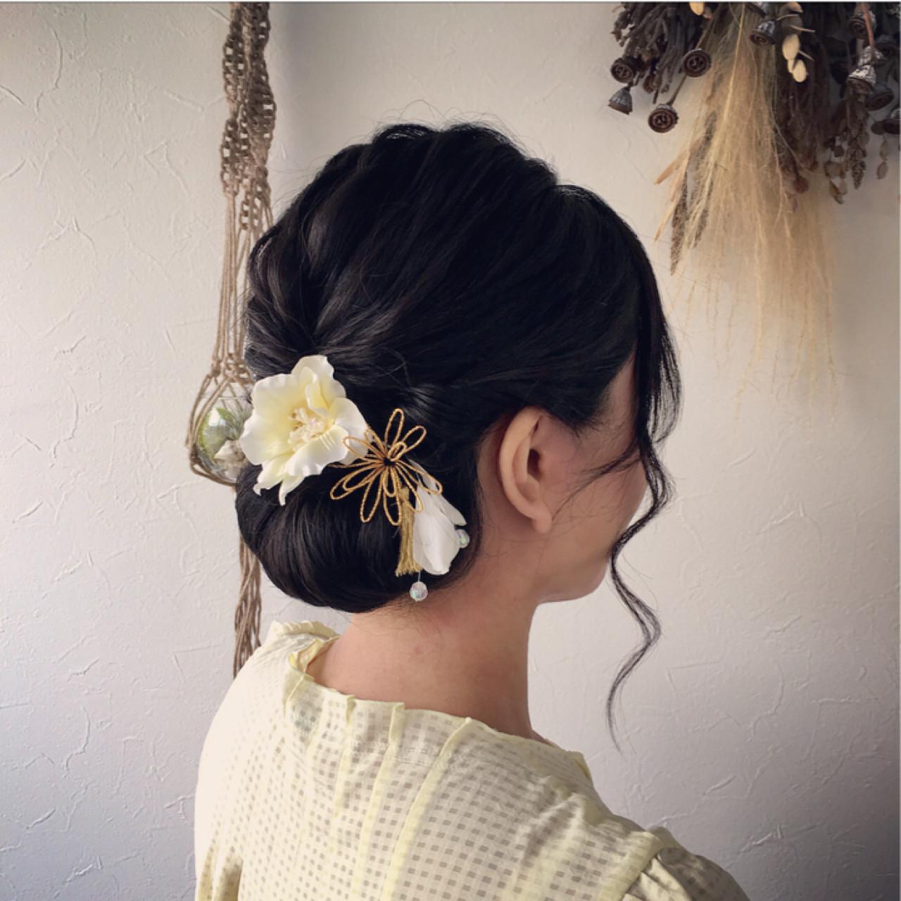 色気 夏 シニヨン 和装 ヘアスタイルや髪型の写真・画像