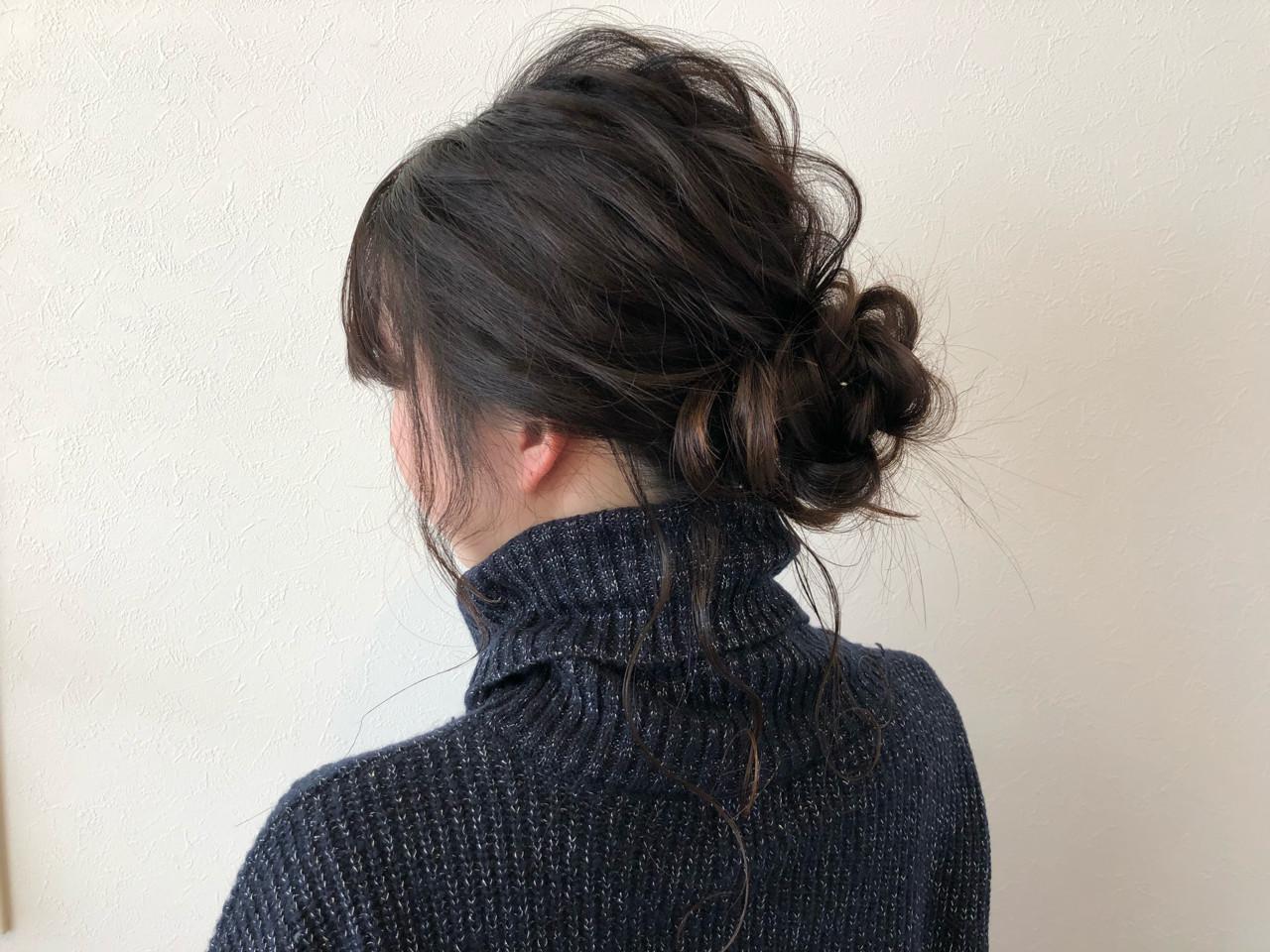 セミロング ヘアアレンジ ナチュラル 外国人風 ヘアスタイルや髪型の写真・画像