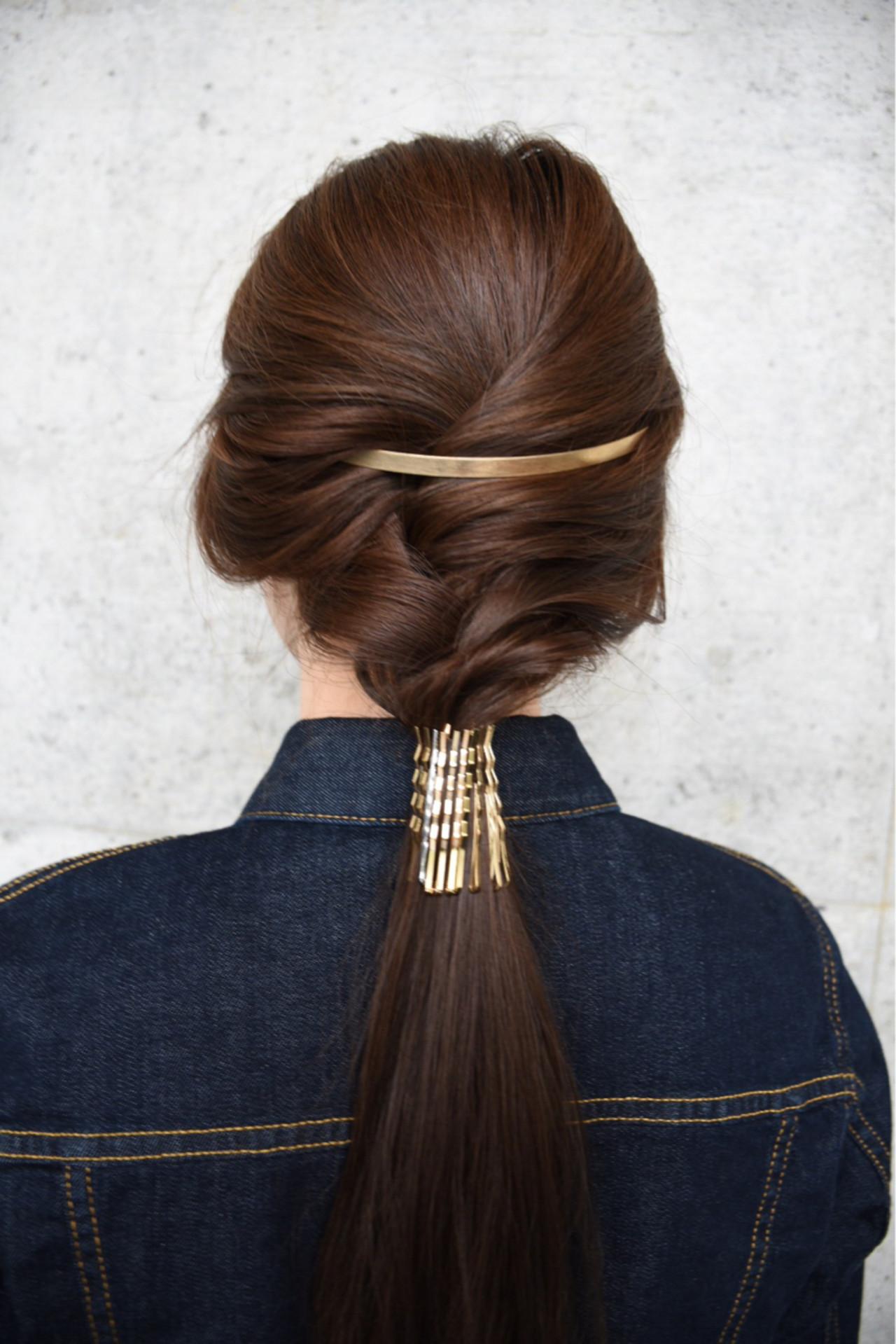 ヘアピン ヘアアクセ ヘアアレンジ ハーフアップ ヘアスタイルや髪型の写真・画像