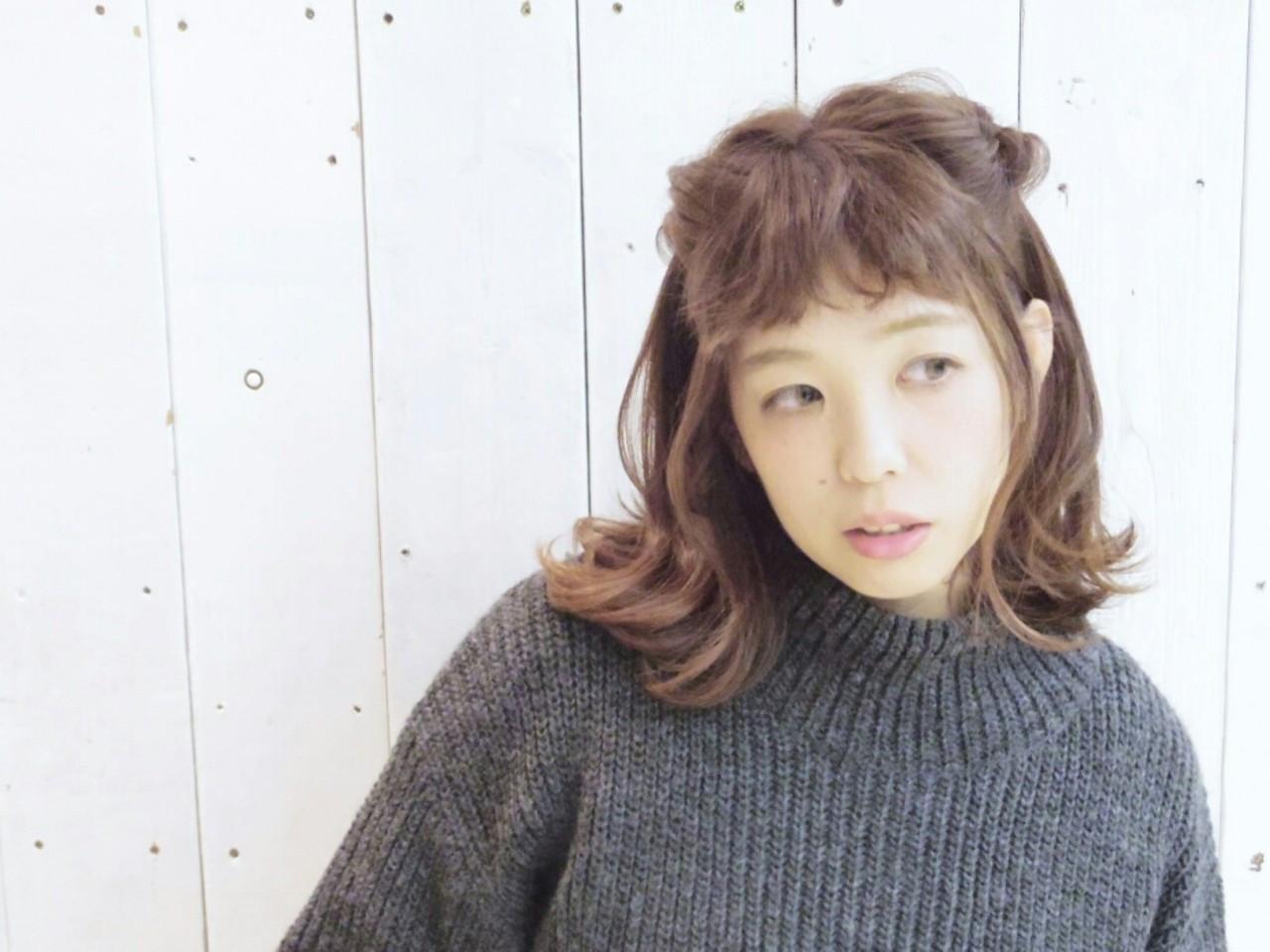 くるりんぱ ヘアアレンジ ミディアム 外ハネ ヘアスタイルや髪型の写真・画像