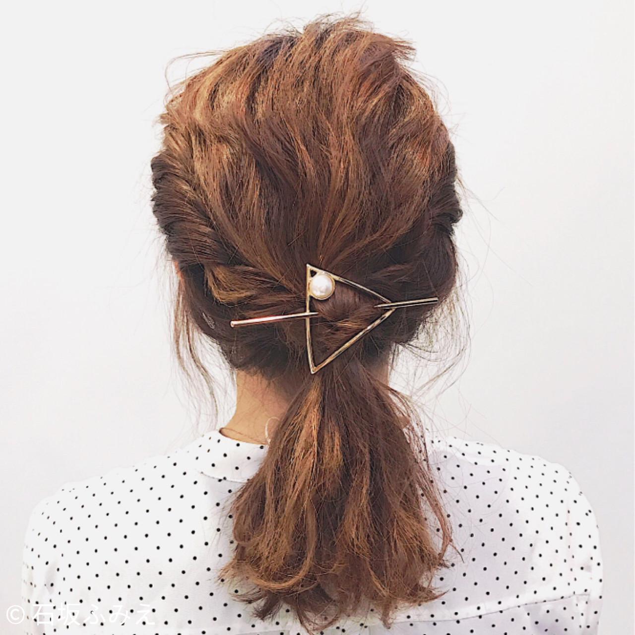 ミディアム フェミニン 結婚式 簡単ヘアアレンジ ヘアスタイルや髪型の写真・画像