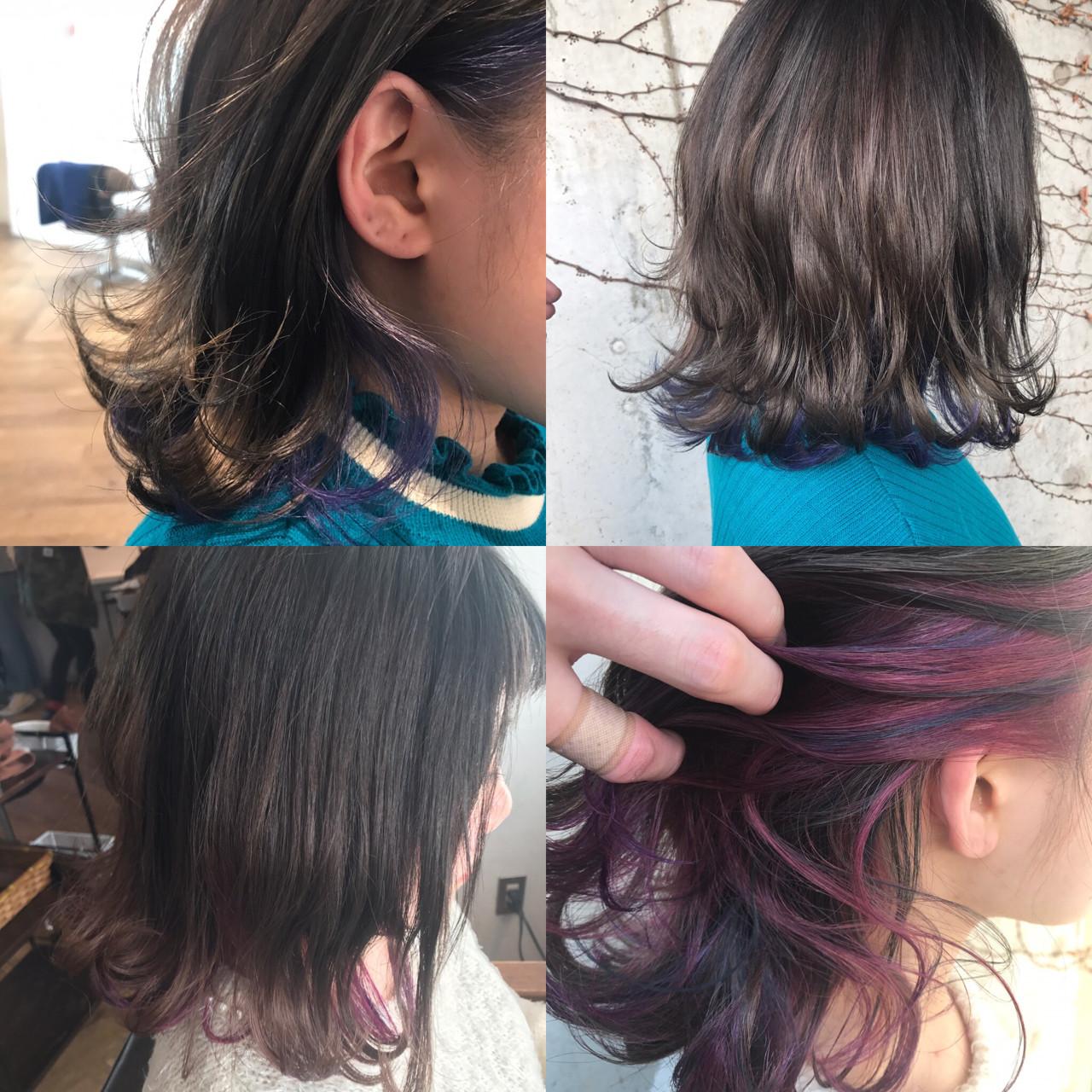 インナーカラー 透明感 ミディアム グレージュ ヘアスタイルや髪型の写真・画像