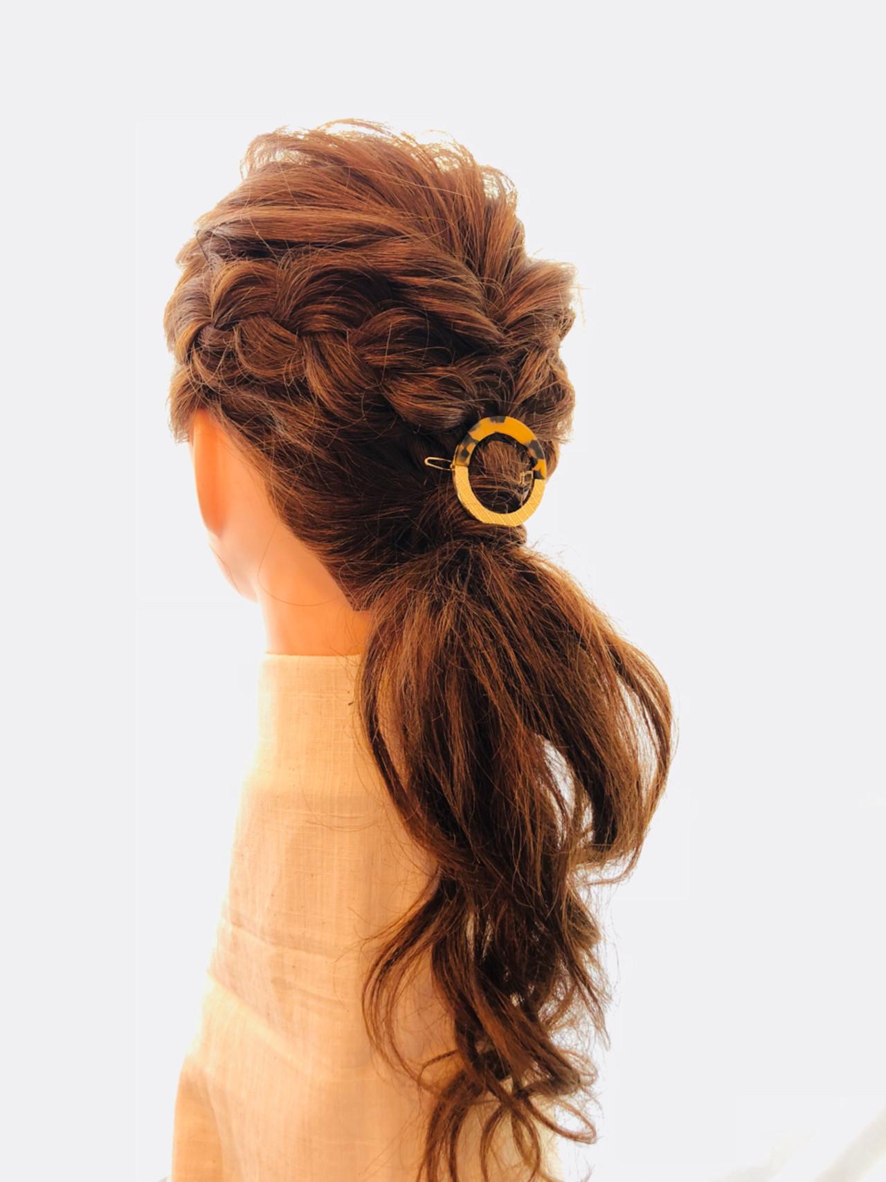 ナチュラル ヘアアレンジ ポニーテール ロング ヘアスタイルや髪型の写真・画像