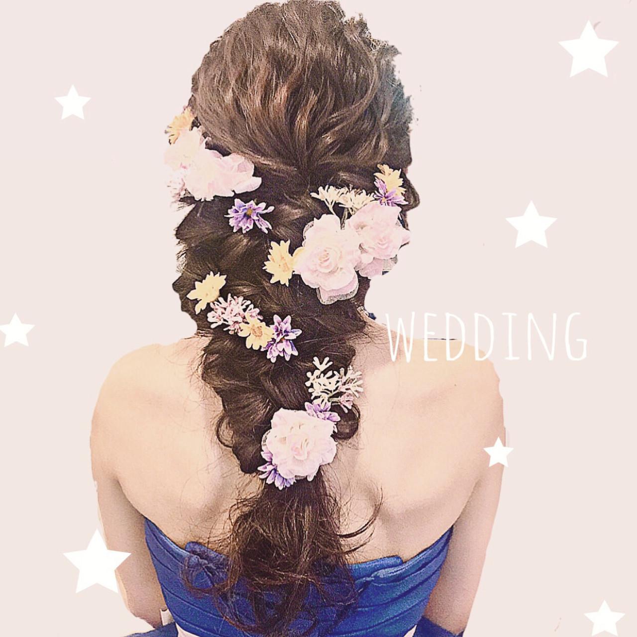 フェミニン ディズニー 編み込み ヘアアレンジ ヘアスタイルや髪型の写真・画像
