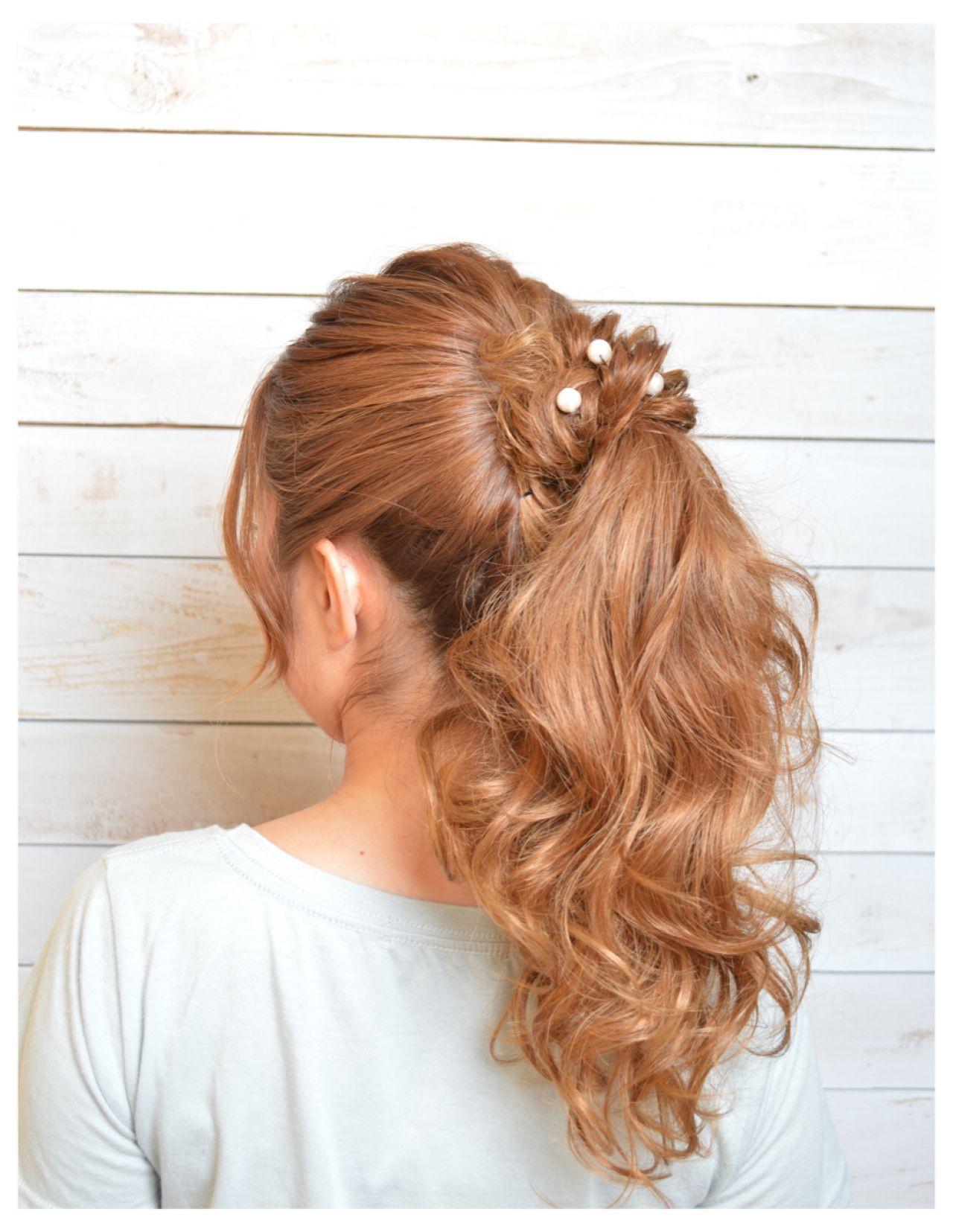 ヘアアレンジ ロング ポニーテール ねじり ヘアスタイルや髪型の写真・画像