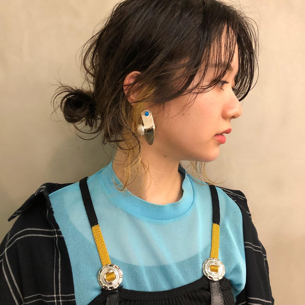 ミディアム ハイライト ヘアアレンジ アンニュイ ヘアスタイルや髪型の写真・画像