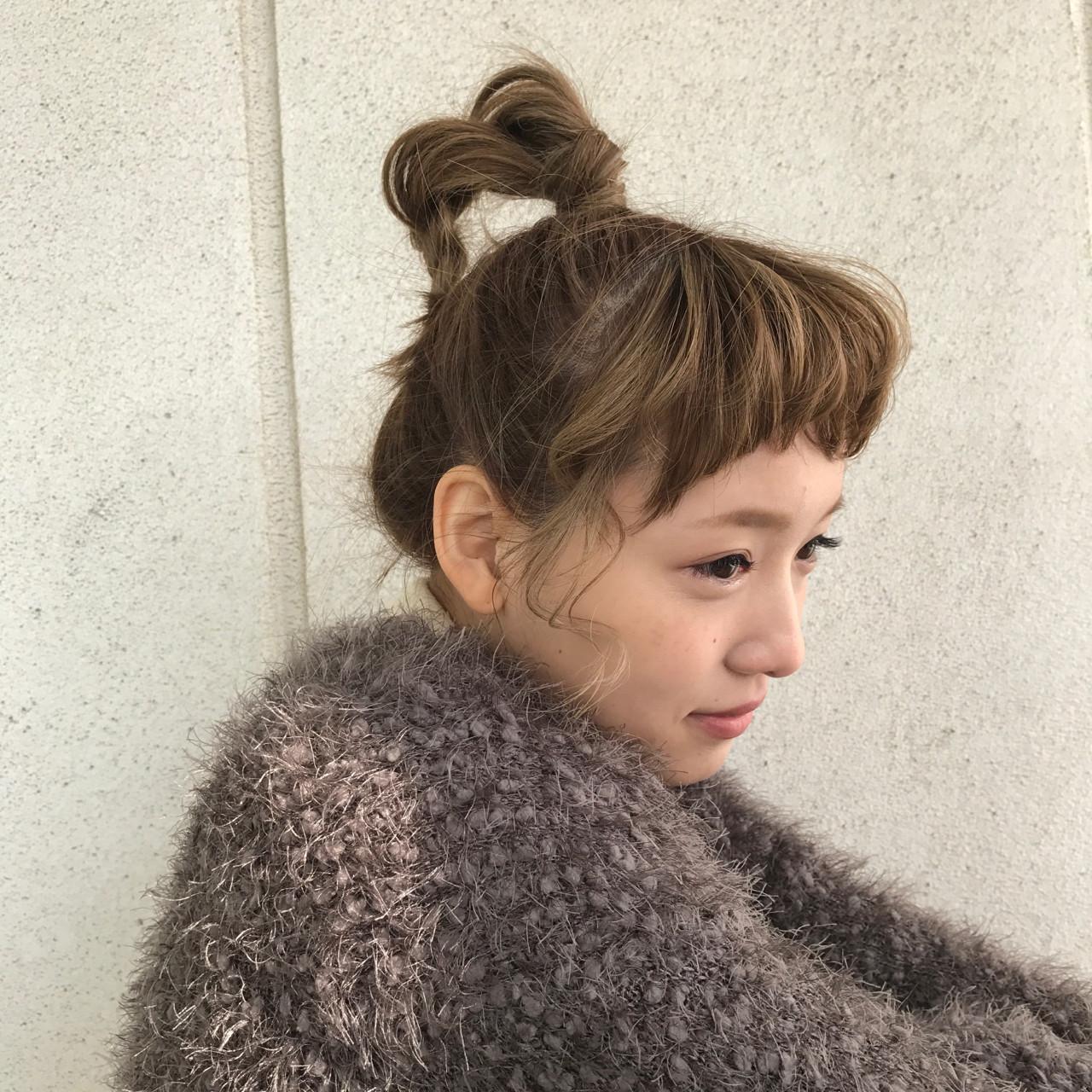 ミディアム ショート ハイトーン ヘアアレンジ ヘアスタイルや髪型の写真・画像