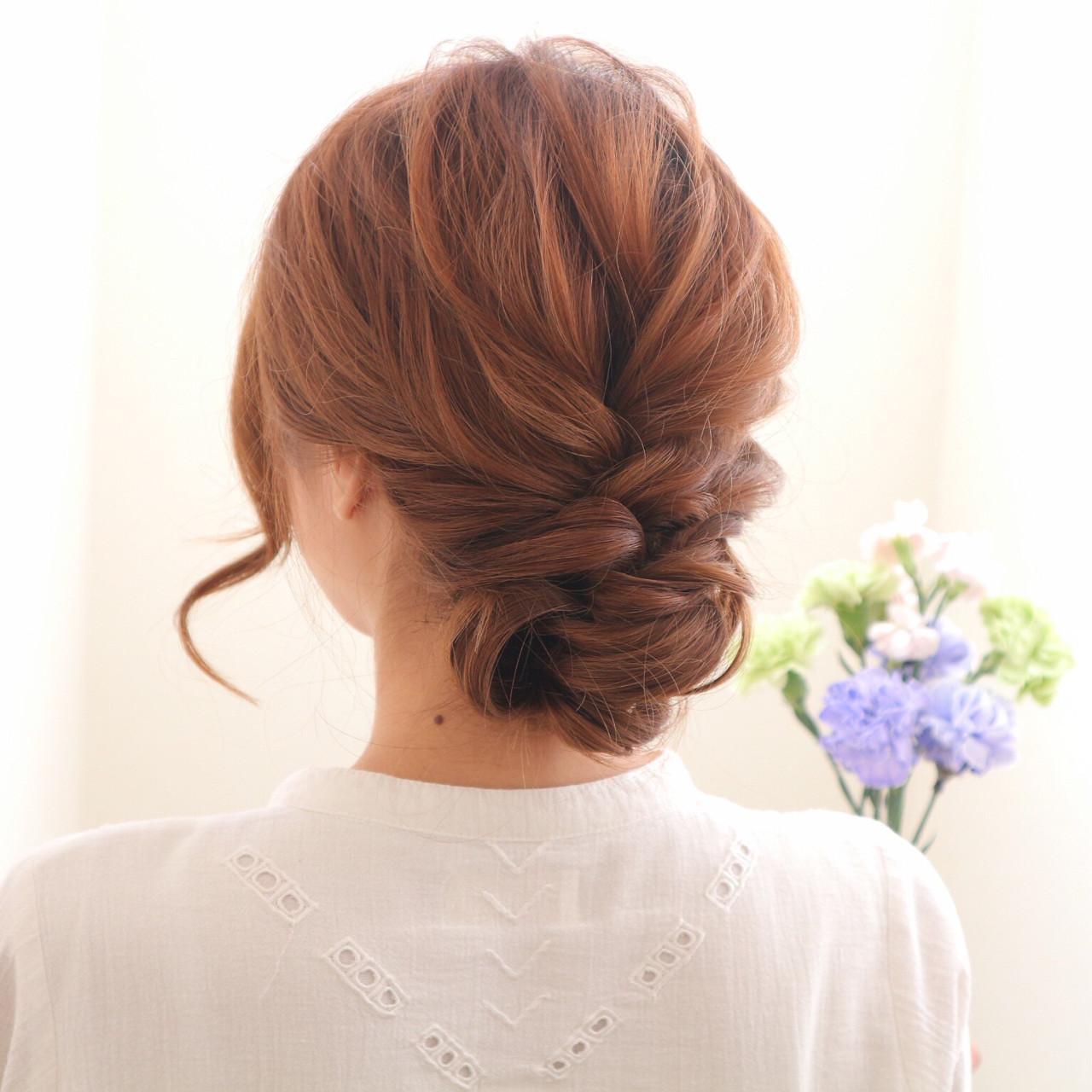 セミロング 三つ編み まとめ髪 簡単ヘアアレンジ ヘアスタイルや髪型の写真・画像