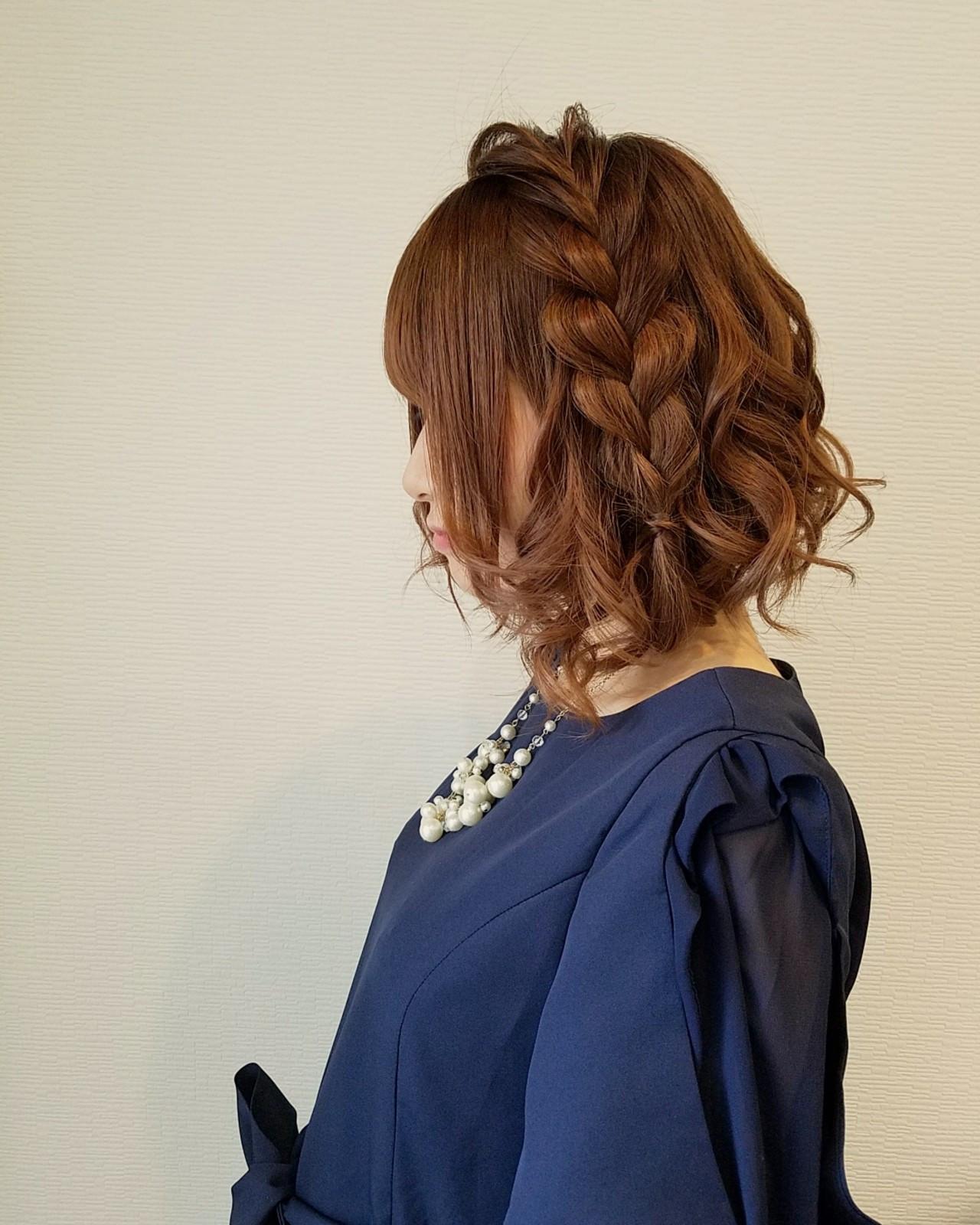 フェミニンボブの編み込みヘアセット♪ mai