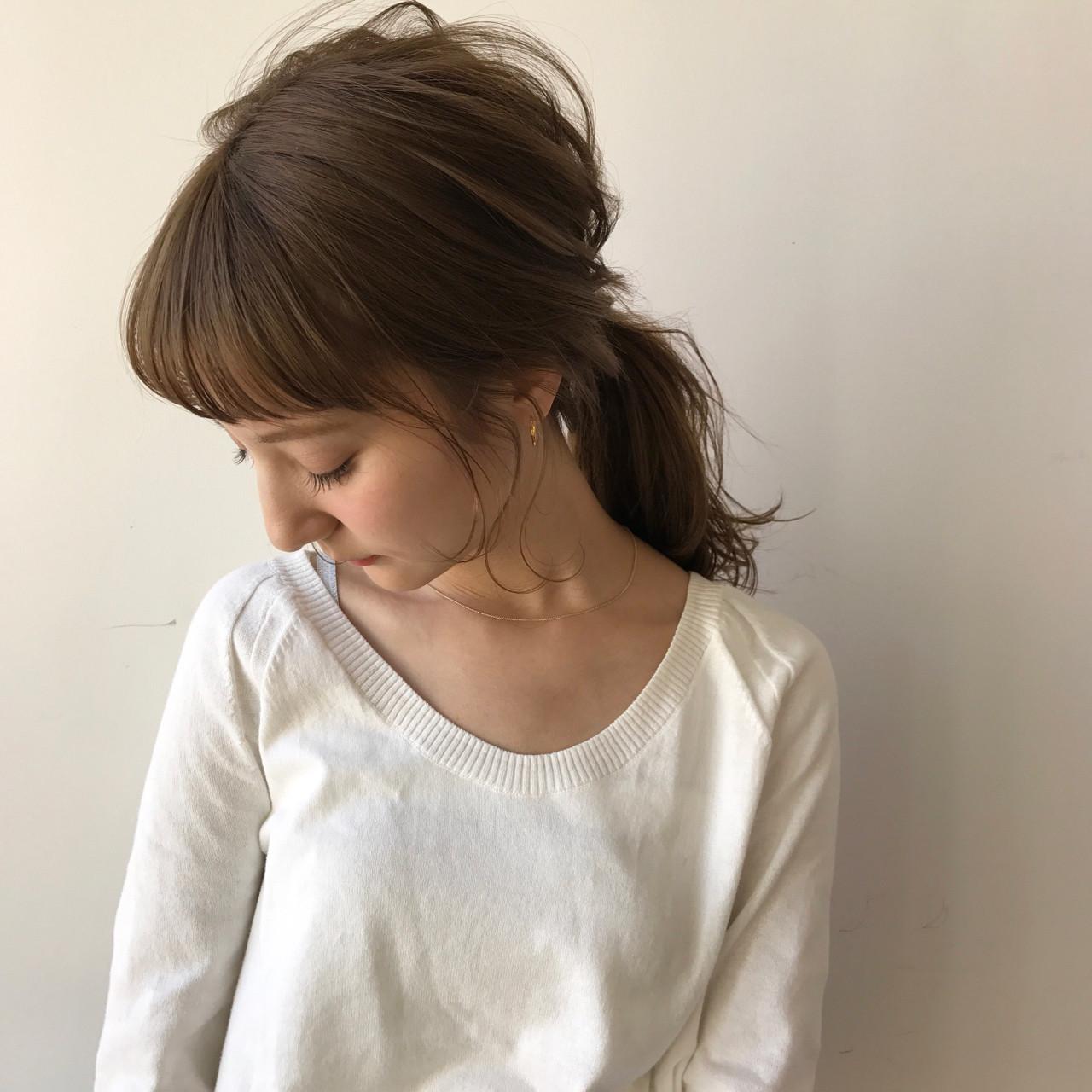 ふんわり斜め前髪にポニーテール♡ 佐々木拓巳