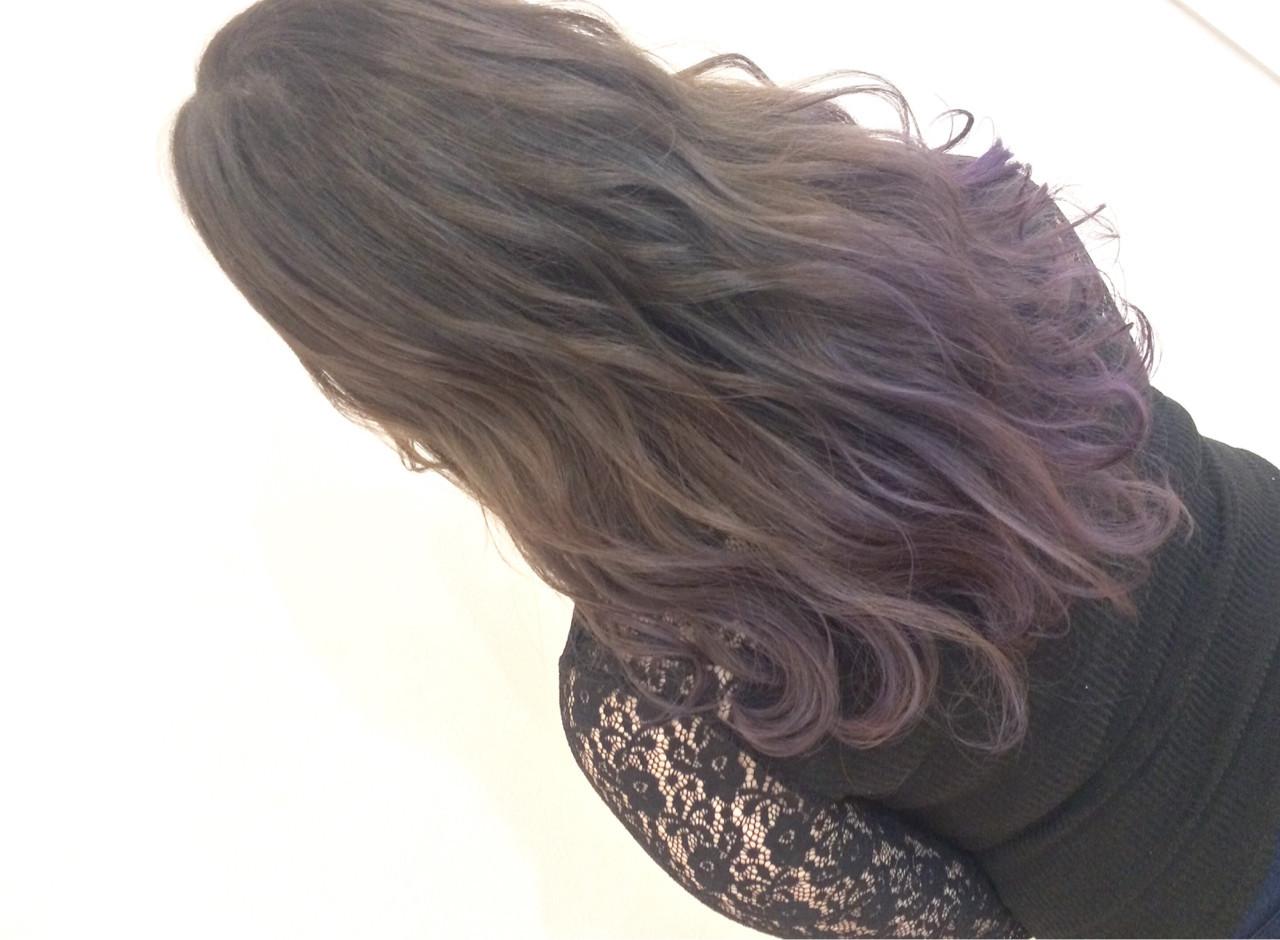 ロング 外国人風カラー ラベンダー グラデーションカラー ヘアスタイルや髪型の写真・画像